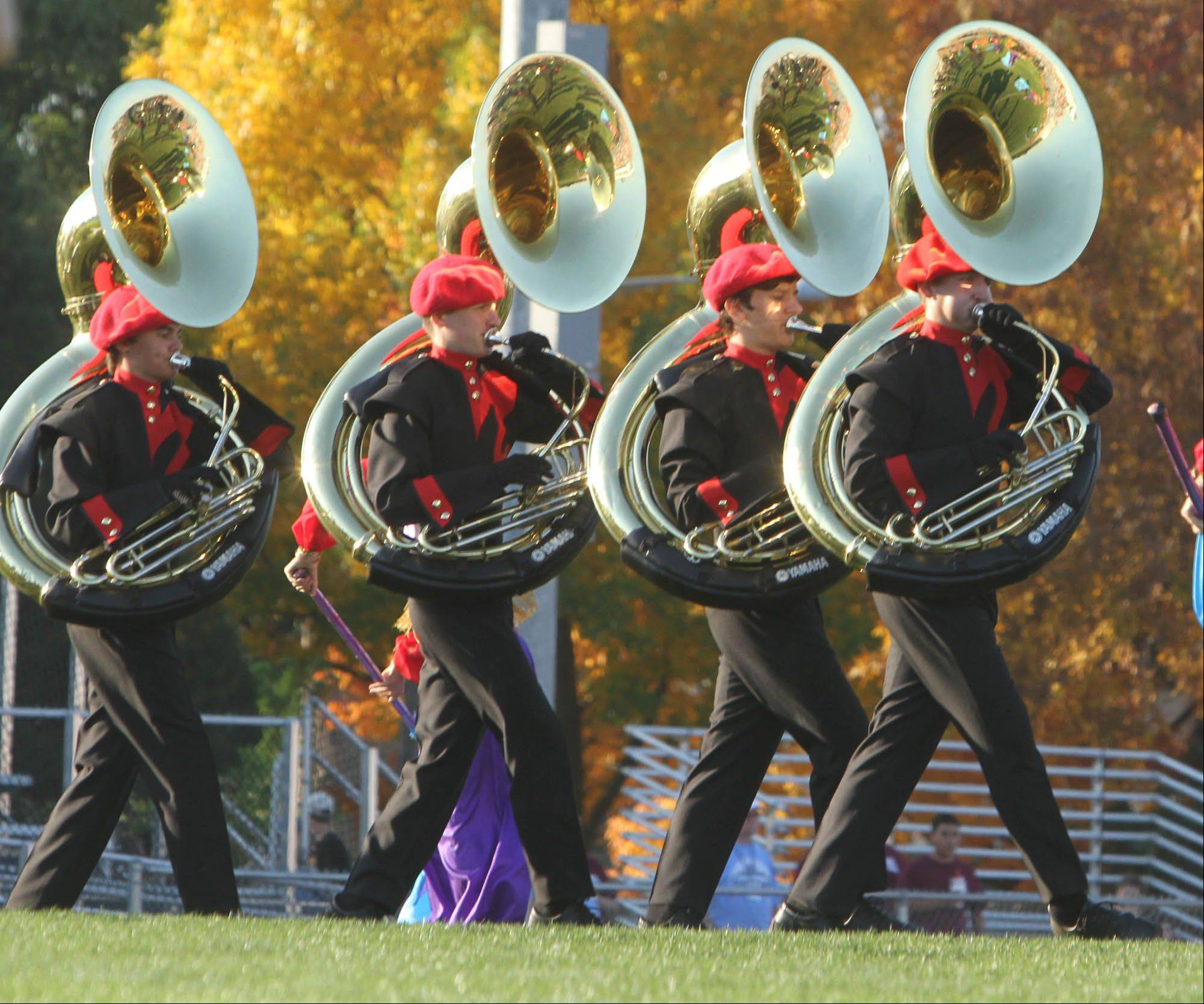 Batavia High School's Marching Bulldogs perform at the Knight of Champions marching band competition at Prospect High School on Oct. 8.