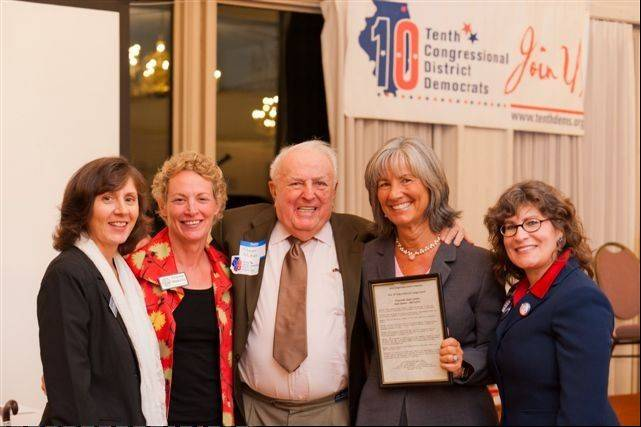 From left, Northfield Township Trustee Karen McCormick; state Rep. Elaine Nekritz; Abner Mikva; state Sen. Susan Garrett; and Lauren Beth Gash.