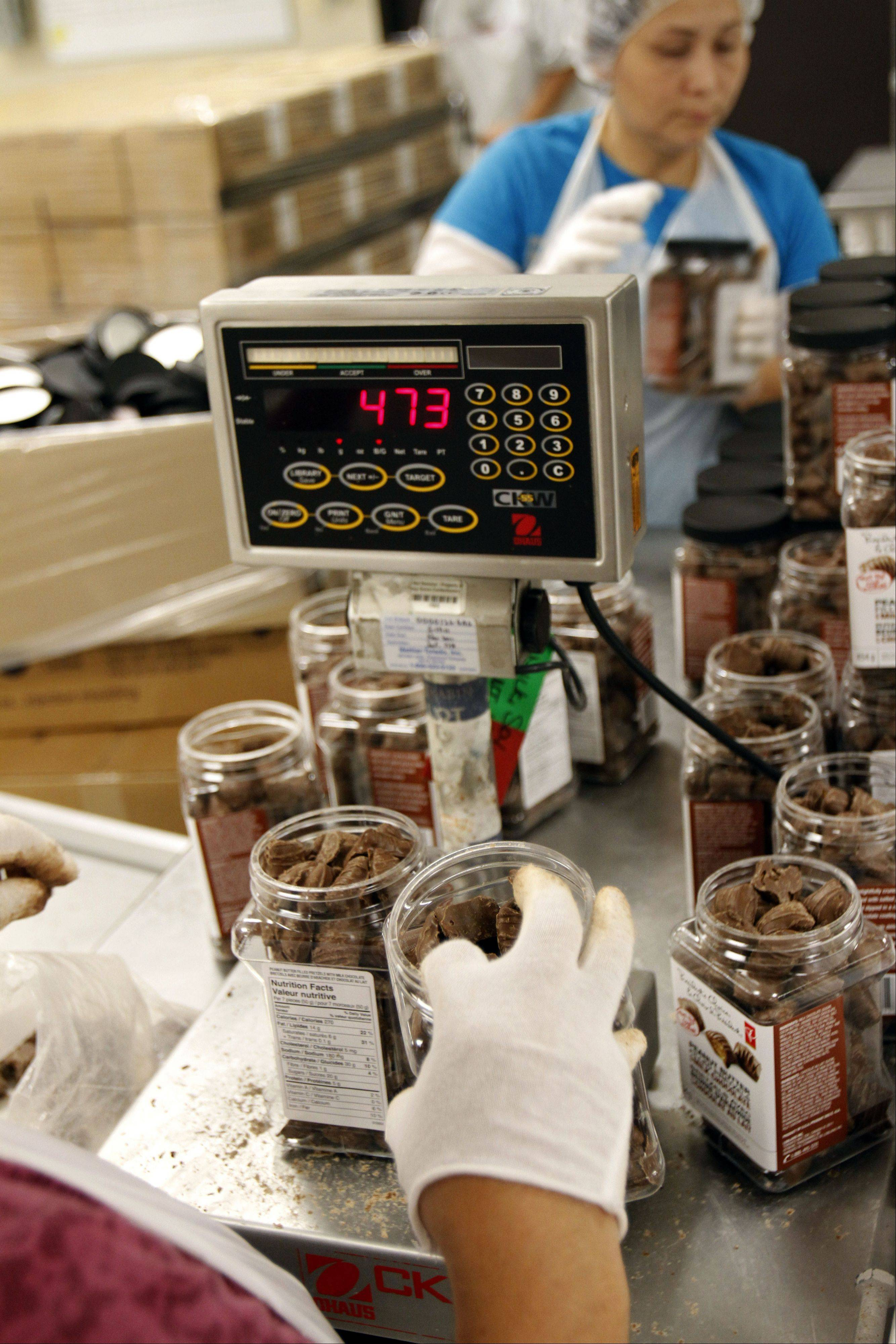 Chocolate covered pretzels are weighed at the Long Grove Confectionery.