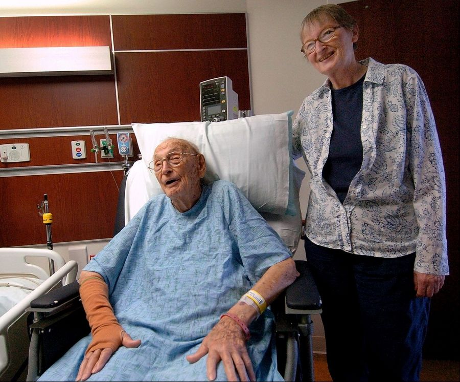 Harold Weary with daughter Marlys Weary, at Northwest Community Hospital.