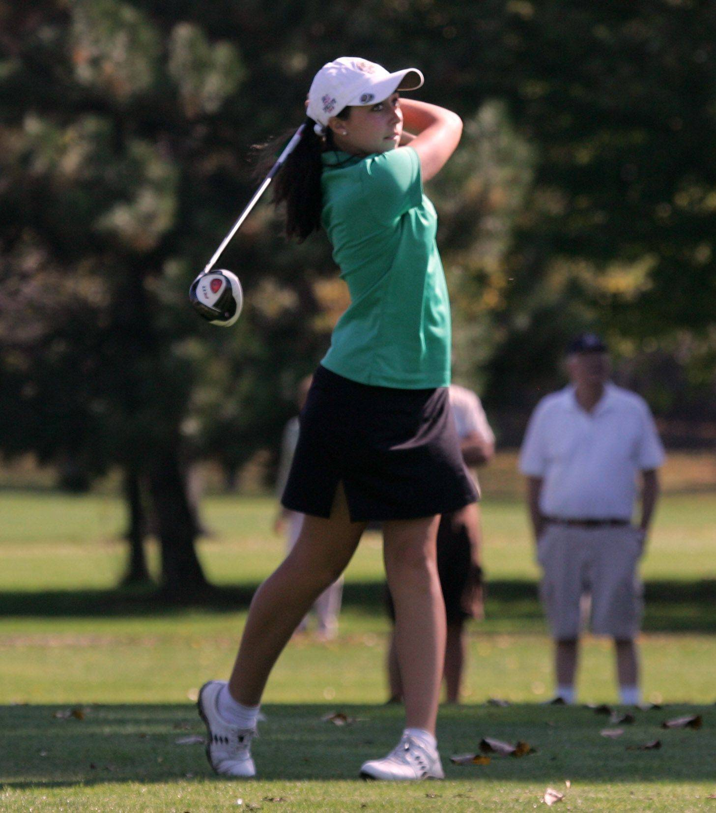 Stevenson golfer Stephanie Miller, here teeing of on No. 11 during sectional play at Buffalo Grove Golf Club.