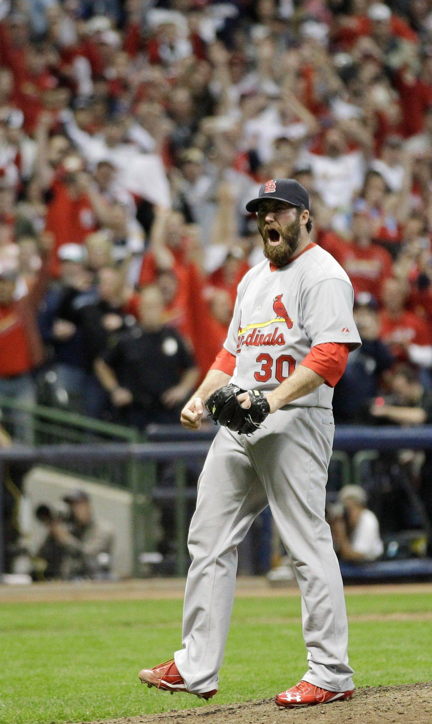 Reliever Jason Motte finished the Cardinals' 12-6 win over Milwaukee on Sunday.