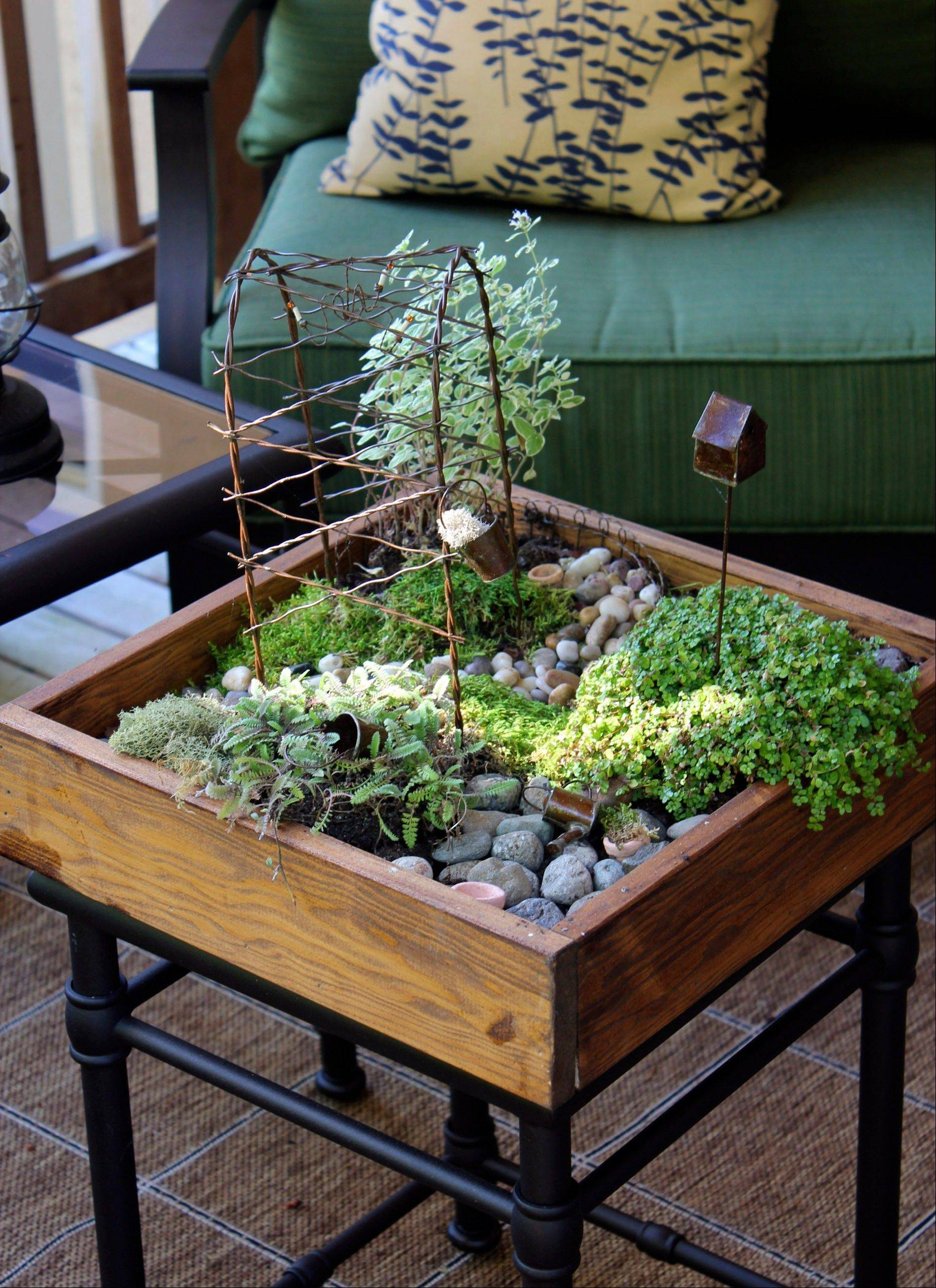 This Fairy Garden Was Created With A Wooden Crate Atop A Side Table.  Designer Melissa