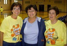 The whole Cuccinotto family gets involved at the annual Hoop-a-Thon. Carole Cuccinotto Tyrrell, from left, Maryville alum Pat Maher and Carole's aunt, Helen O'Connor, a major supporter of the event.