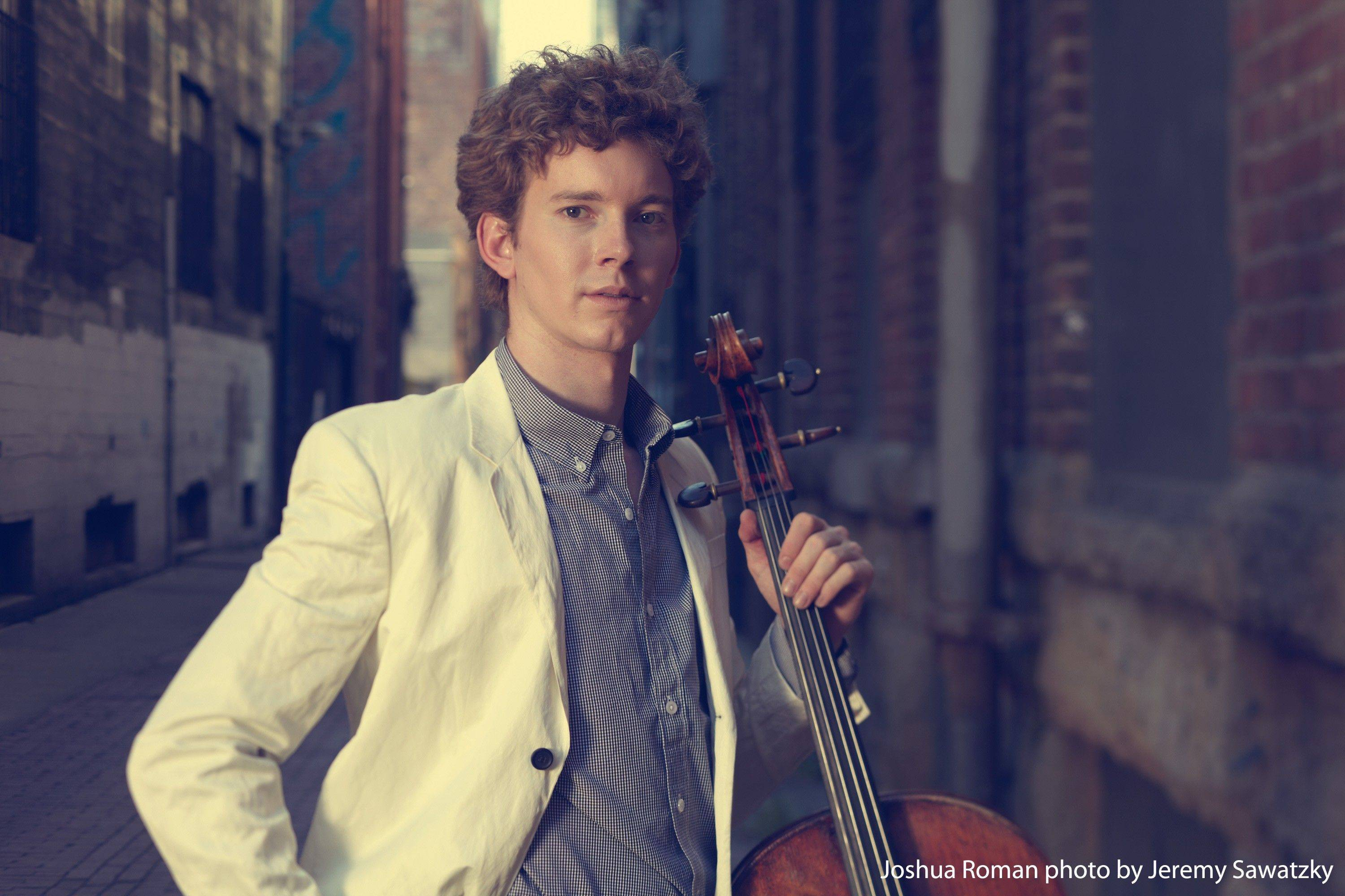 Cellist Joshua Roman performs at Wheaton College's Edman Memorial Chapel on Saturday, Oct. 22.