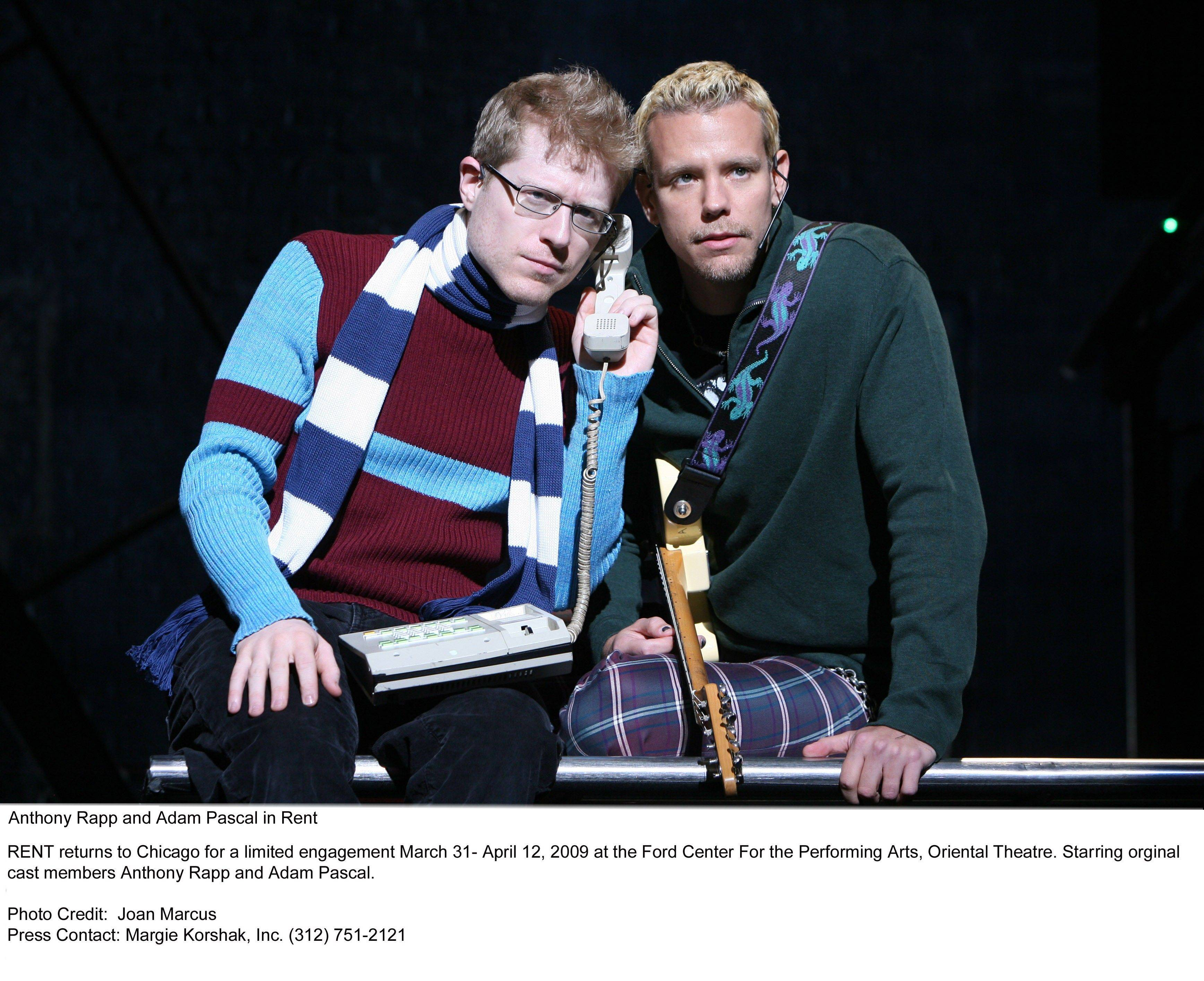 """Rent"" stars Anthony Rapp and Adam Pascal appear in concert together at the North Shore Center for the Performing Arts in Skokie on Saturday, Oct. 22."