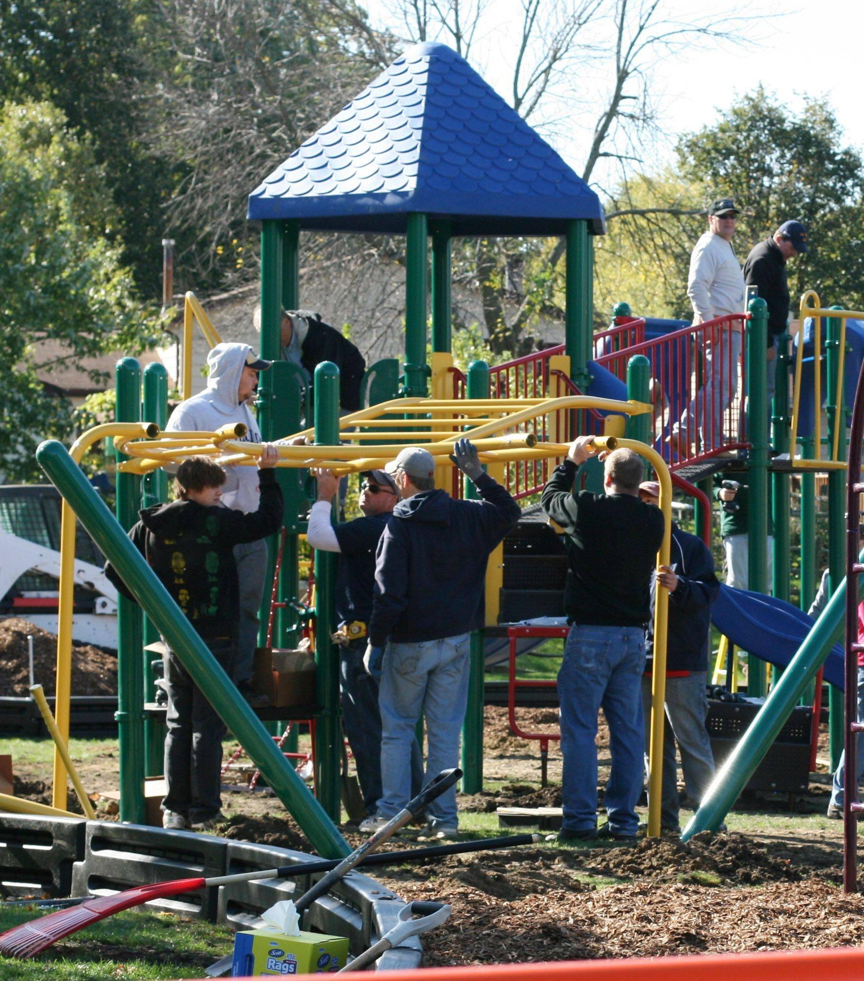 Mundelein Elementary District 75 completed the construction of Eagle Park, a new school playground at Washington Elementary School in Mundelein, Oct. 15. The two-day project was staffed by more than 40 community volunteers and district staff.