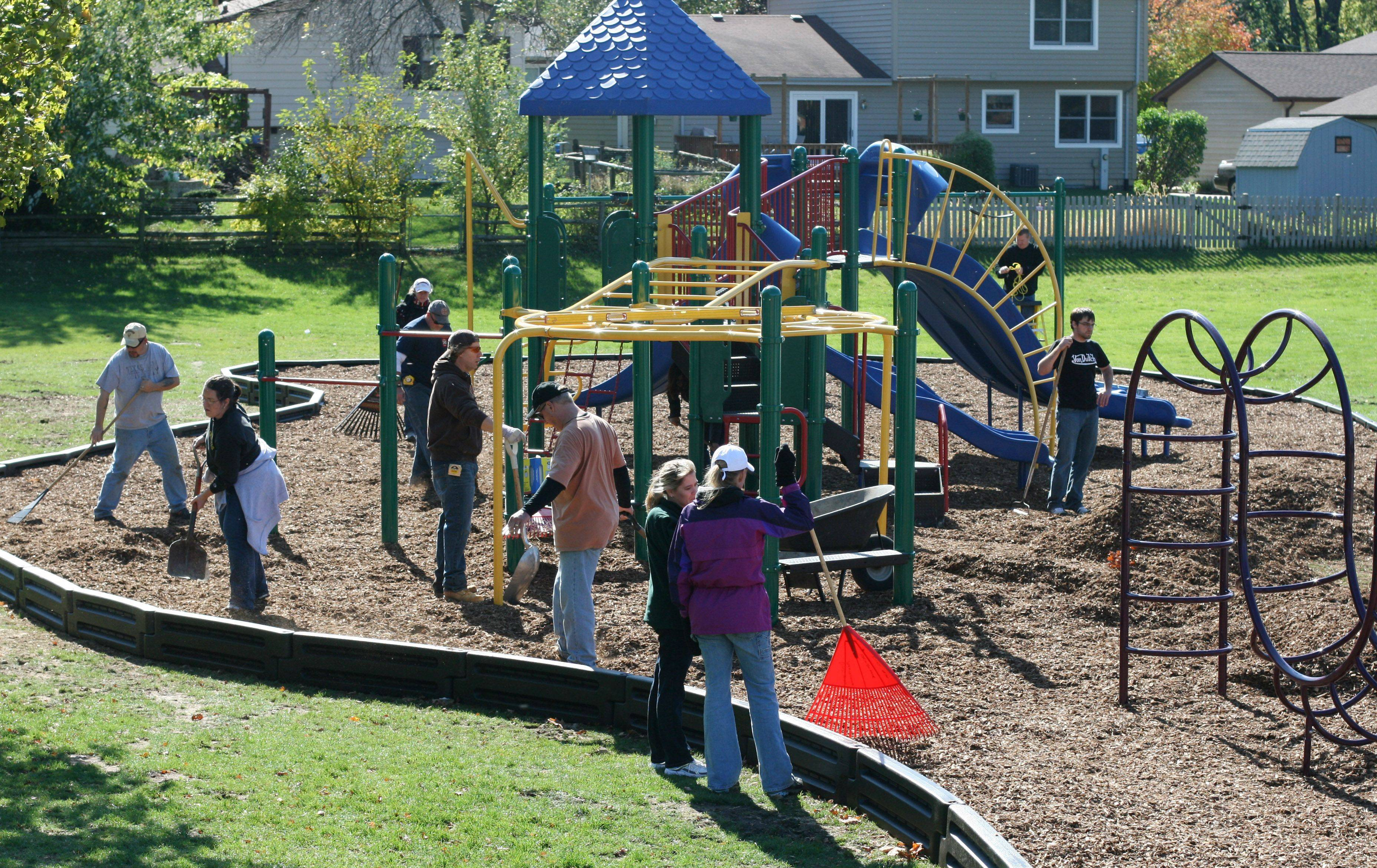More than 40 community volunteers and staff of Mundelein Elementary District 75 completed construction of Eagle Park, a new playground at Washington Elementary School in Mundelein. The two-day project was completed Oct. 15.