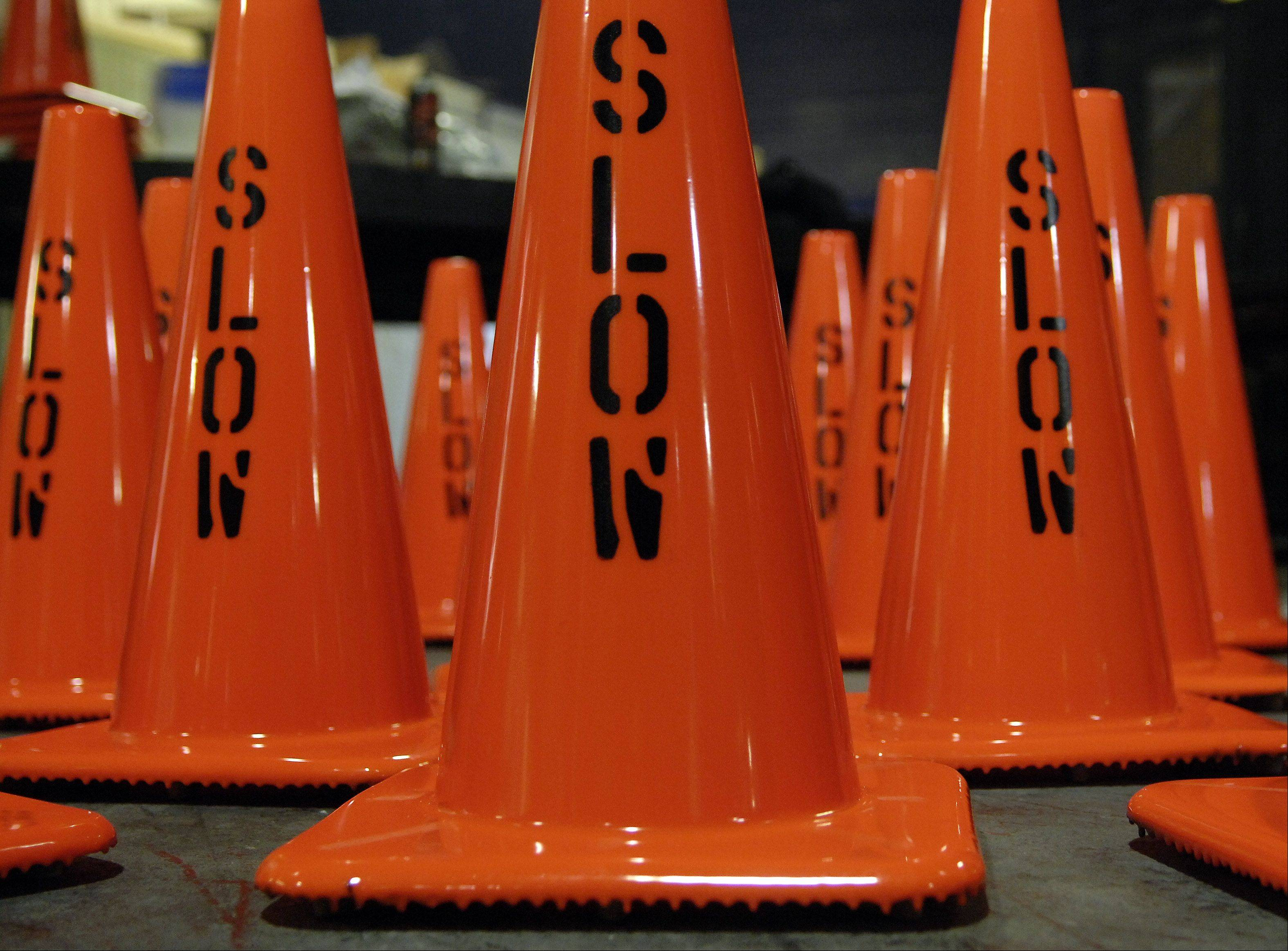 Production is anything but slow at Work Area Protection Corp. in St. Charles. The produce and sell over 1.6 million cones a year.
