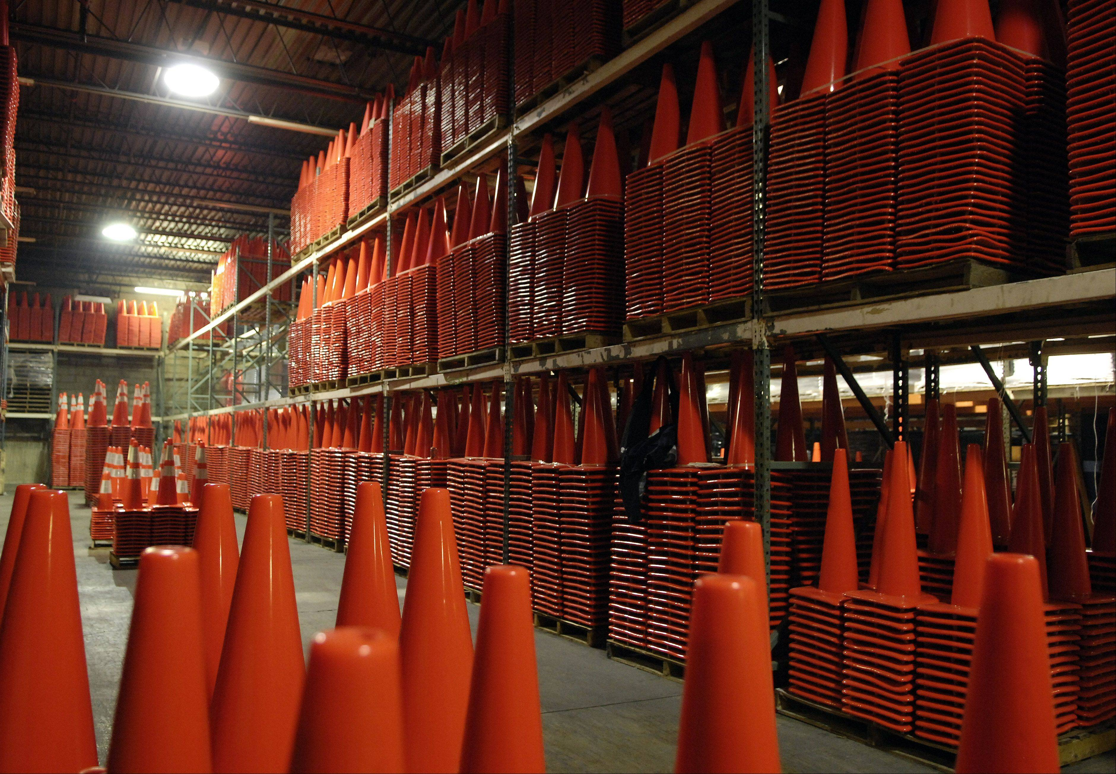 Work Area Protection Corp. in St. Charles sells over 1.6 million cones a year. Their warehouse holds about 60,000 at a time and that inventory turns over every couple of weeks.