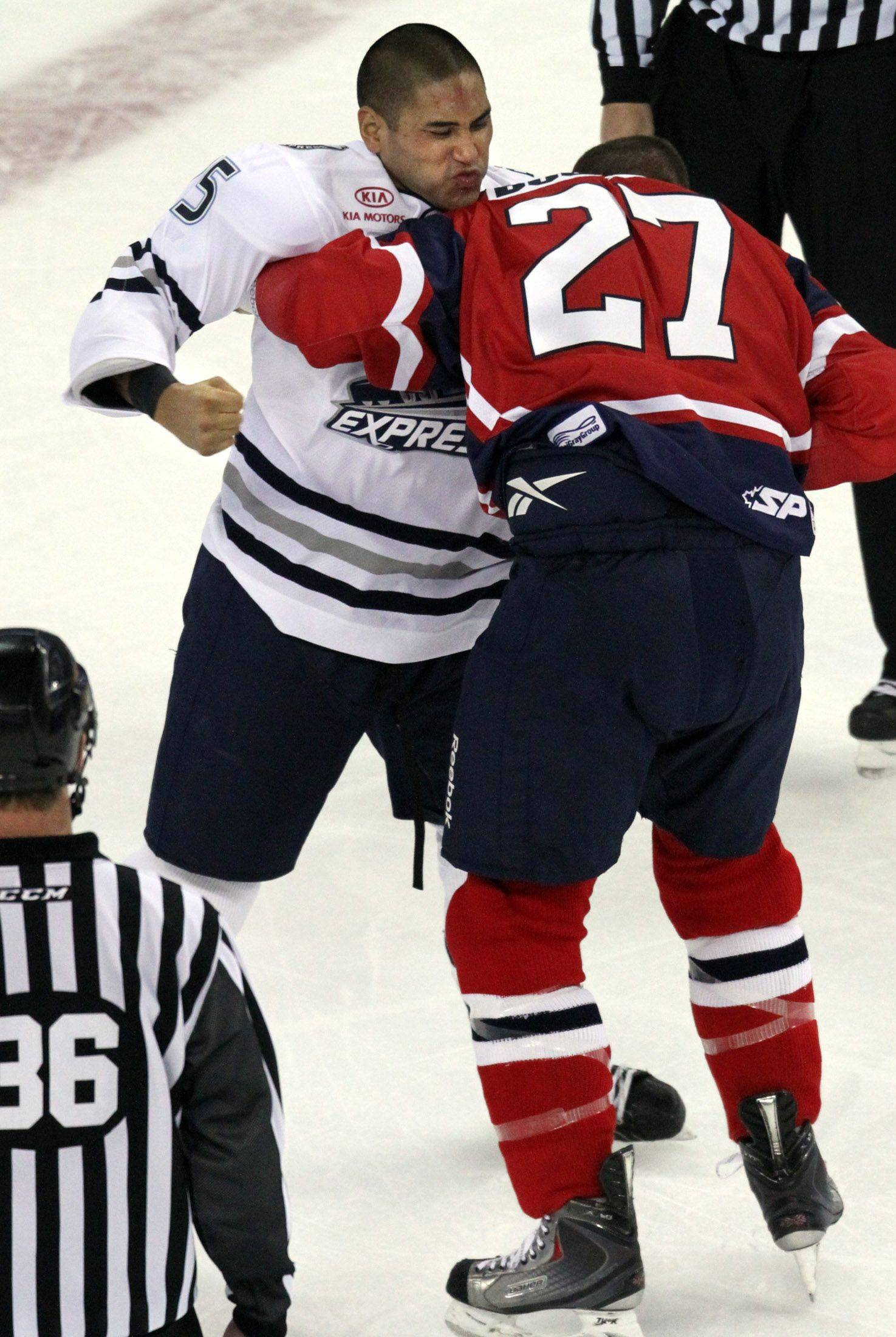 Chicago Express forward Bobby Robins, left, landed several punches in a lengthy fight with Kalamazoo Wings right wing Darryl Bootland in the first period at the Sears Centre in Hoffman Estates on Saturday, October 22nd.