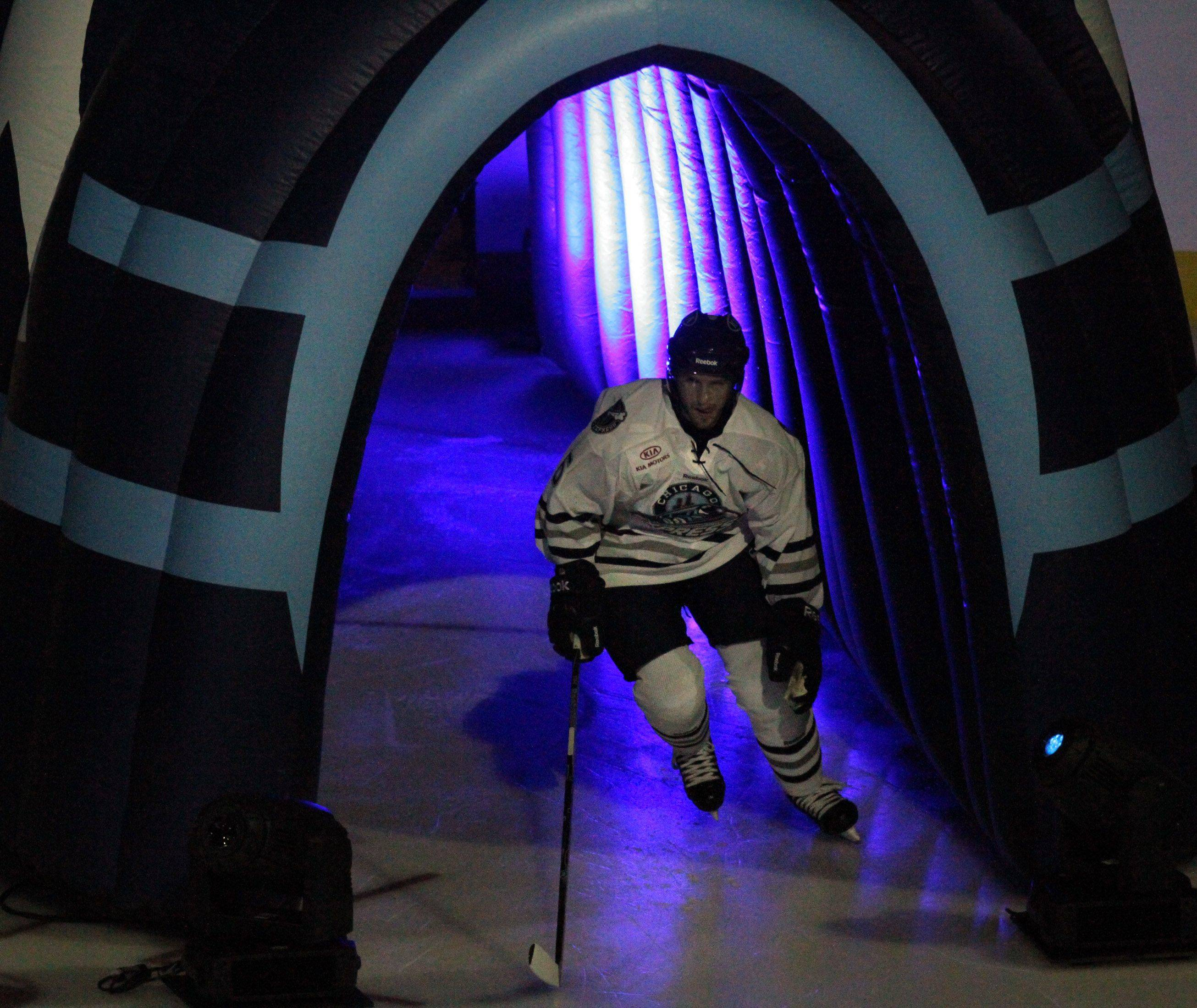 Chicago Express defenseman Darcy Campbell enters the ice for the home opener against Kalamazoo Wings Sears.