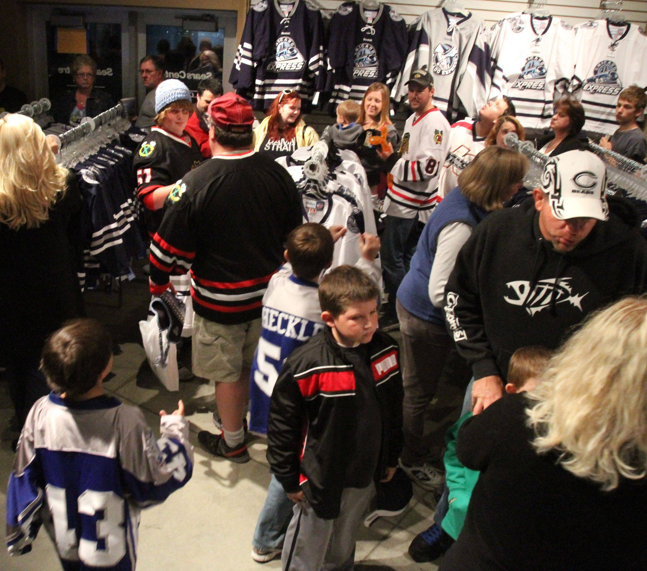 Chicago Express gift shop was crowded before the home opener against Kalamazoo Wings at the Sears Centre in Hoffman Estates on Saturday, October 22nd.