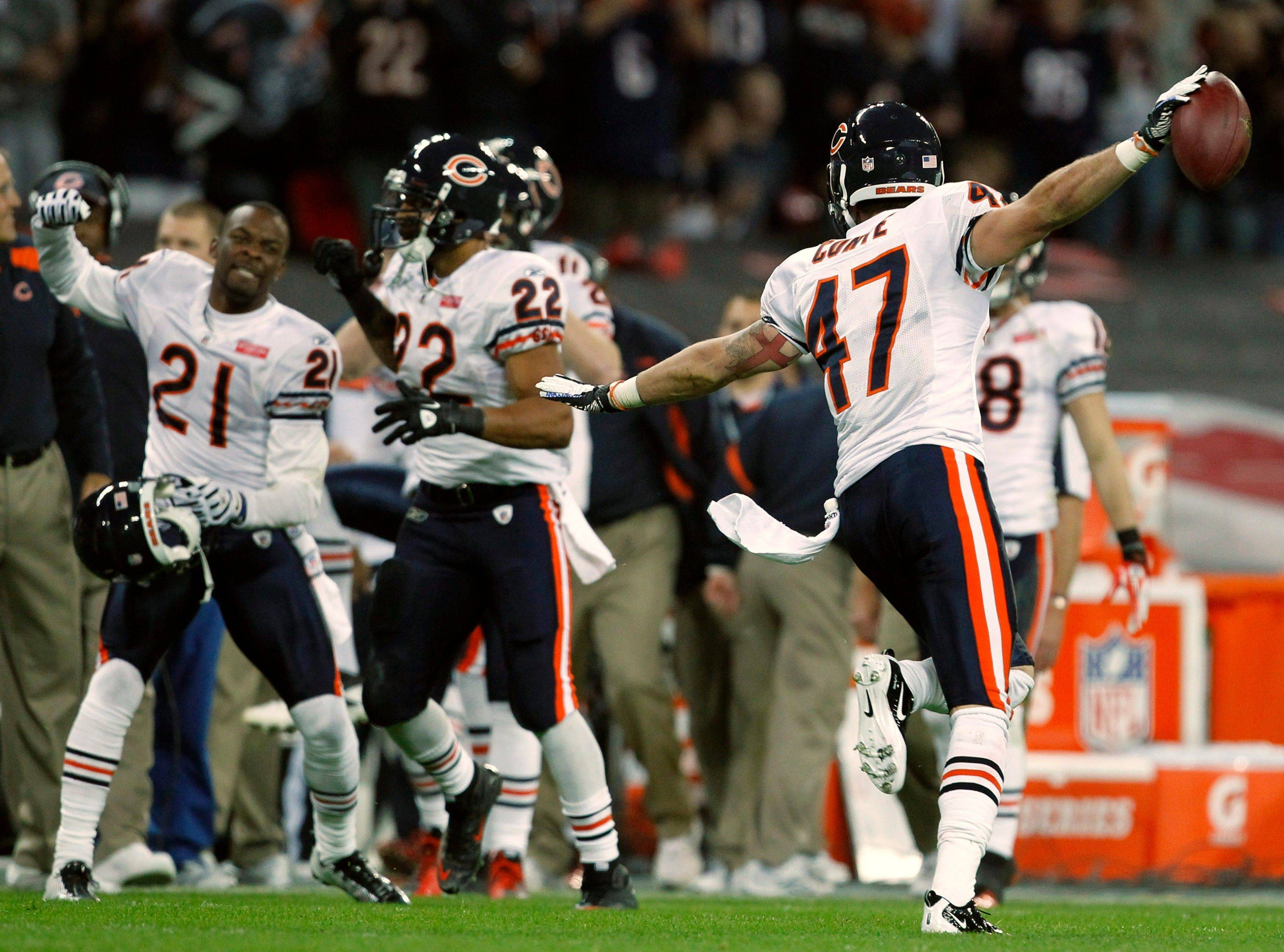Chicago Bears defensive back Chris Conte celebrates after intercepting a pass intended for Tampa Bay Buccaneers wide receiver Mike Williams during the first half.