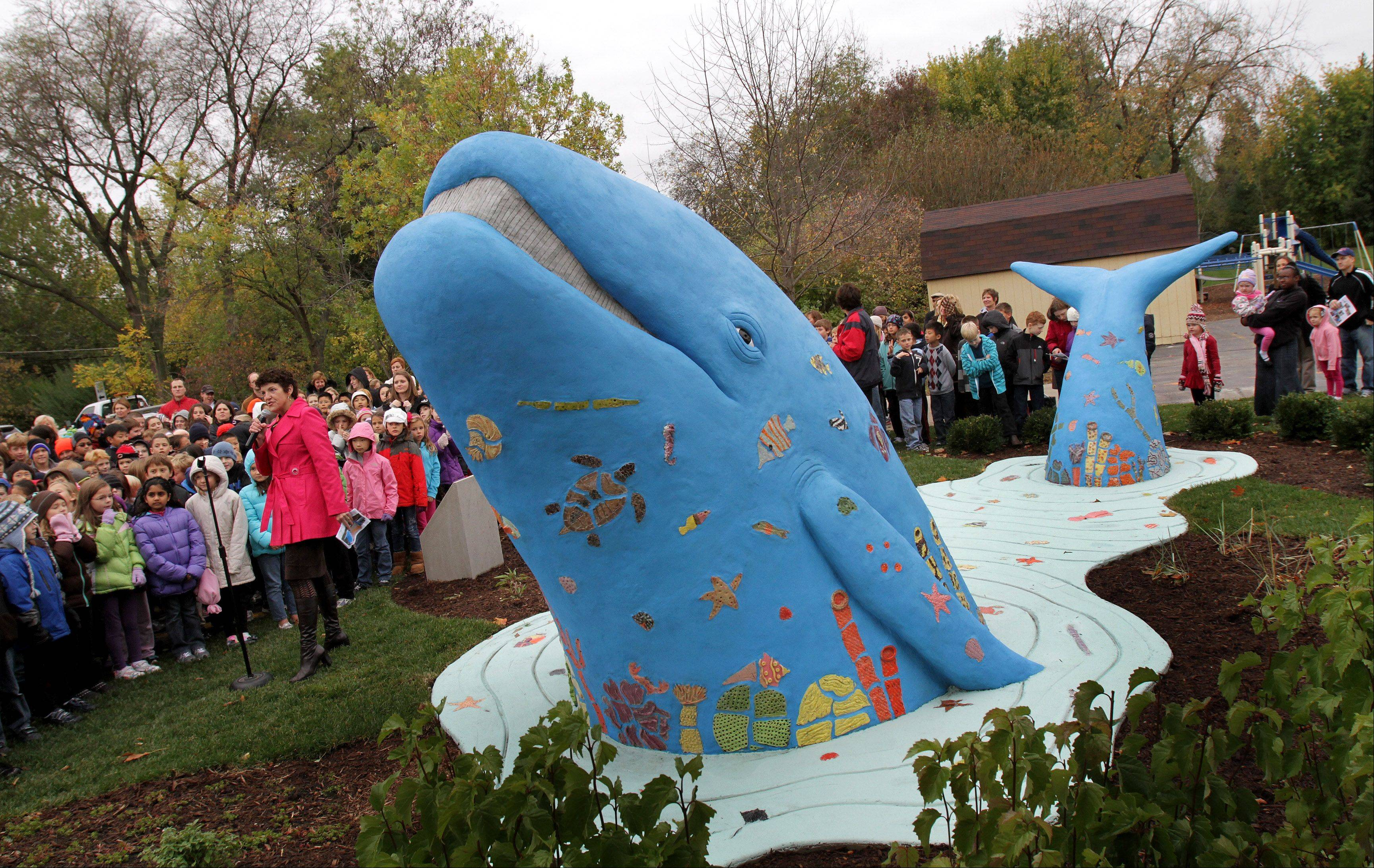 "Highland Elementary school in Naperville is known as ""a whale of a school"". On Thursday, Century Walk unveiled its' latest sculpture, a concrete whale by artist Victoria Fuller on the site of the school. ""This is probably the best dedication we've ever had"" said Brand Bobosky, president of Century Walk, to the students and teachers during the ceremony. On the left is Principal Susan Stuckey and students."