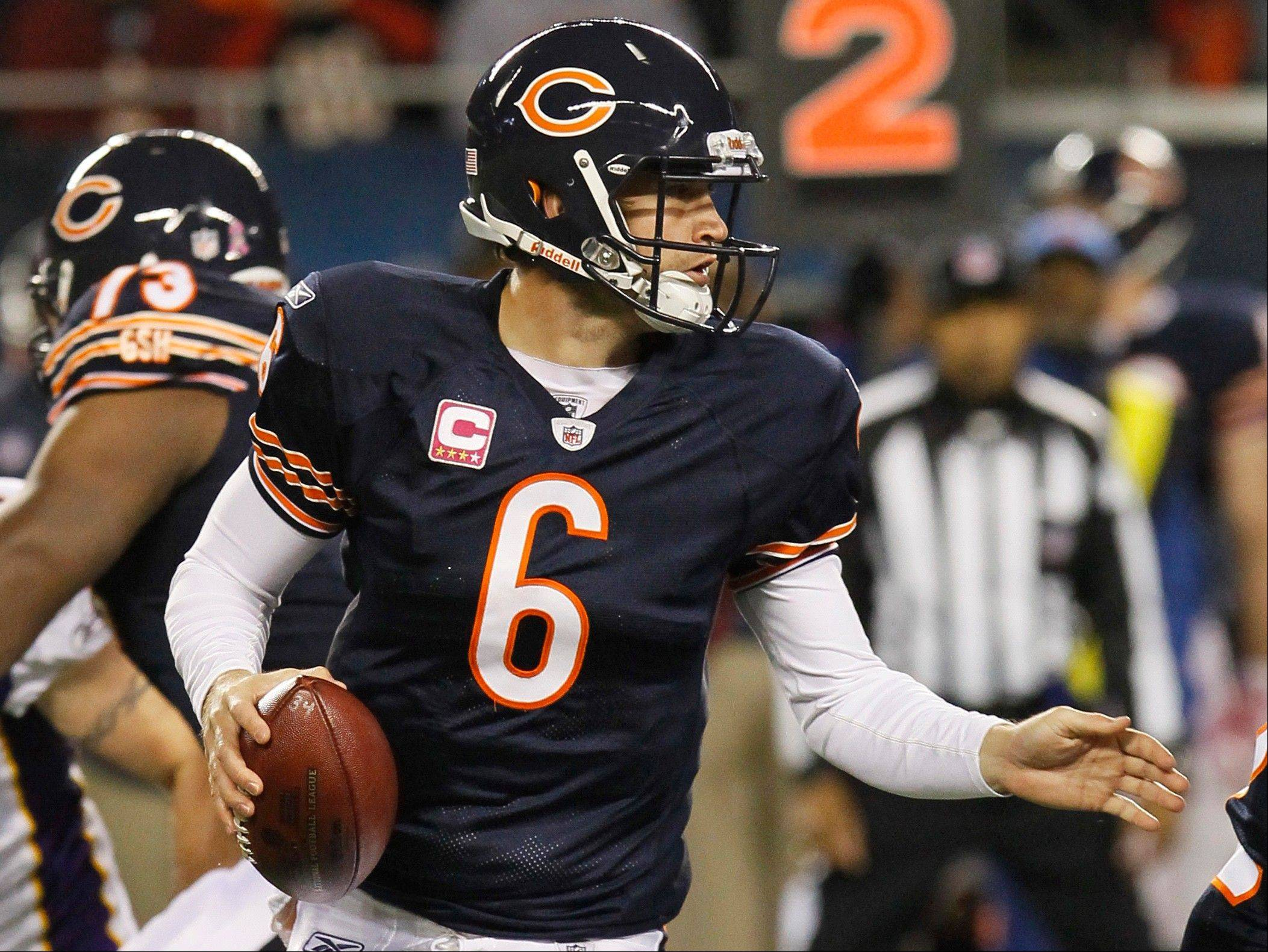 Jay Cutler would be better off if he stopped the habit of throwing off his back foot.