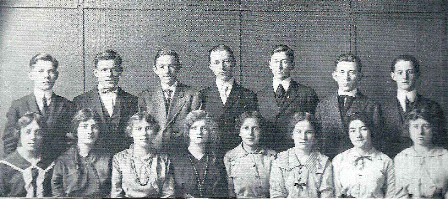 These Elgin High School students were among the first to graduate from a new two-year program begun in 1911. School officials later credited the plan with helping some students develop a greater interest in school and remain to become four-year graduates.