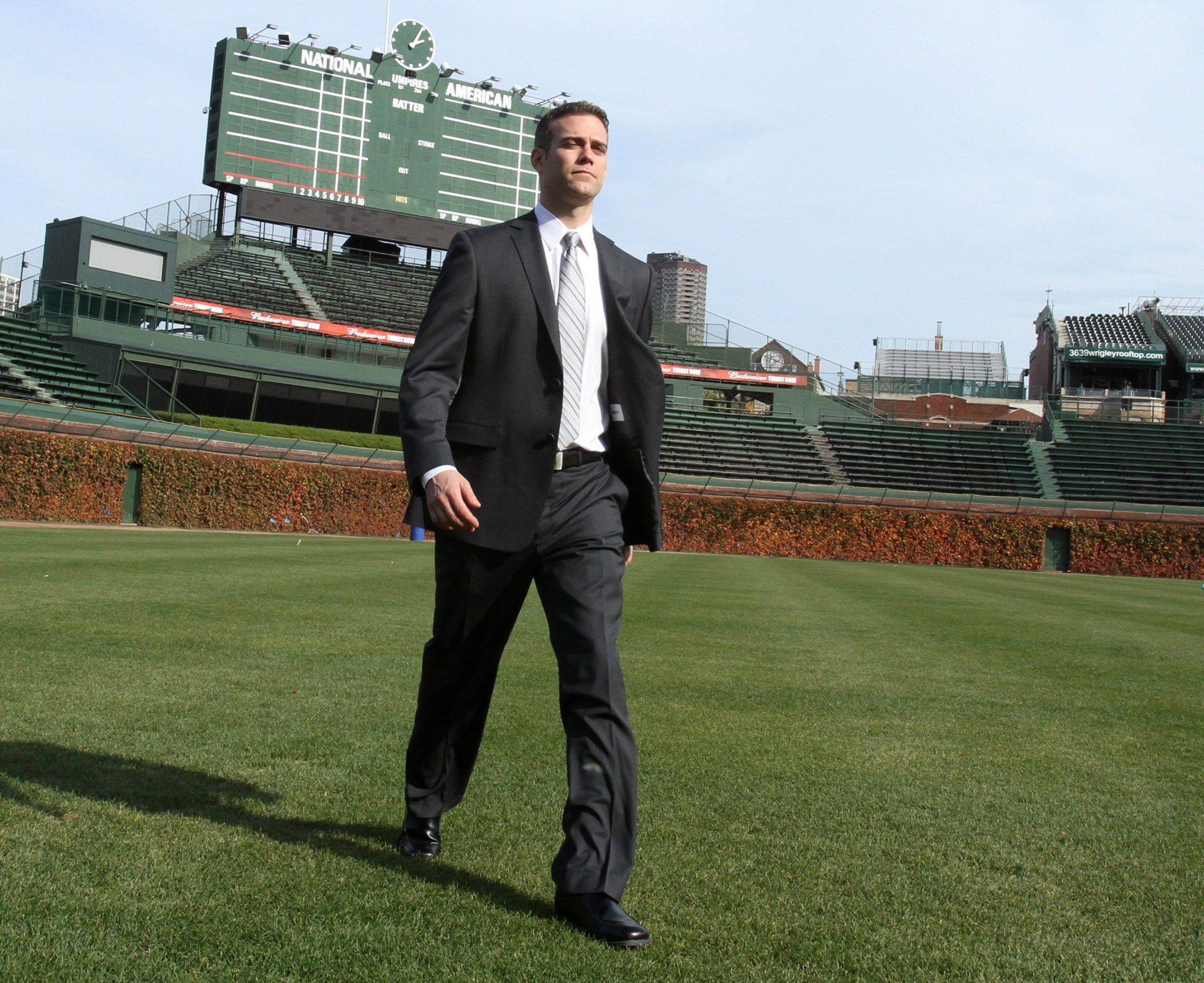 Theo Epstein, Chicago Cubs president of baseball operations, takes a tour of Wrigley Field in Chicago on Tuesday.