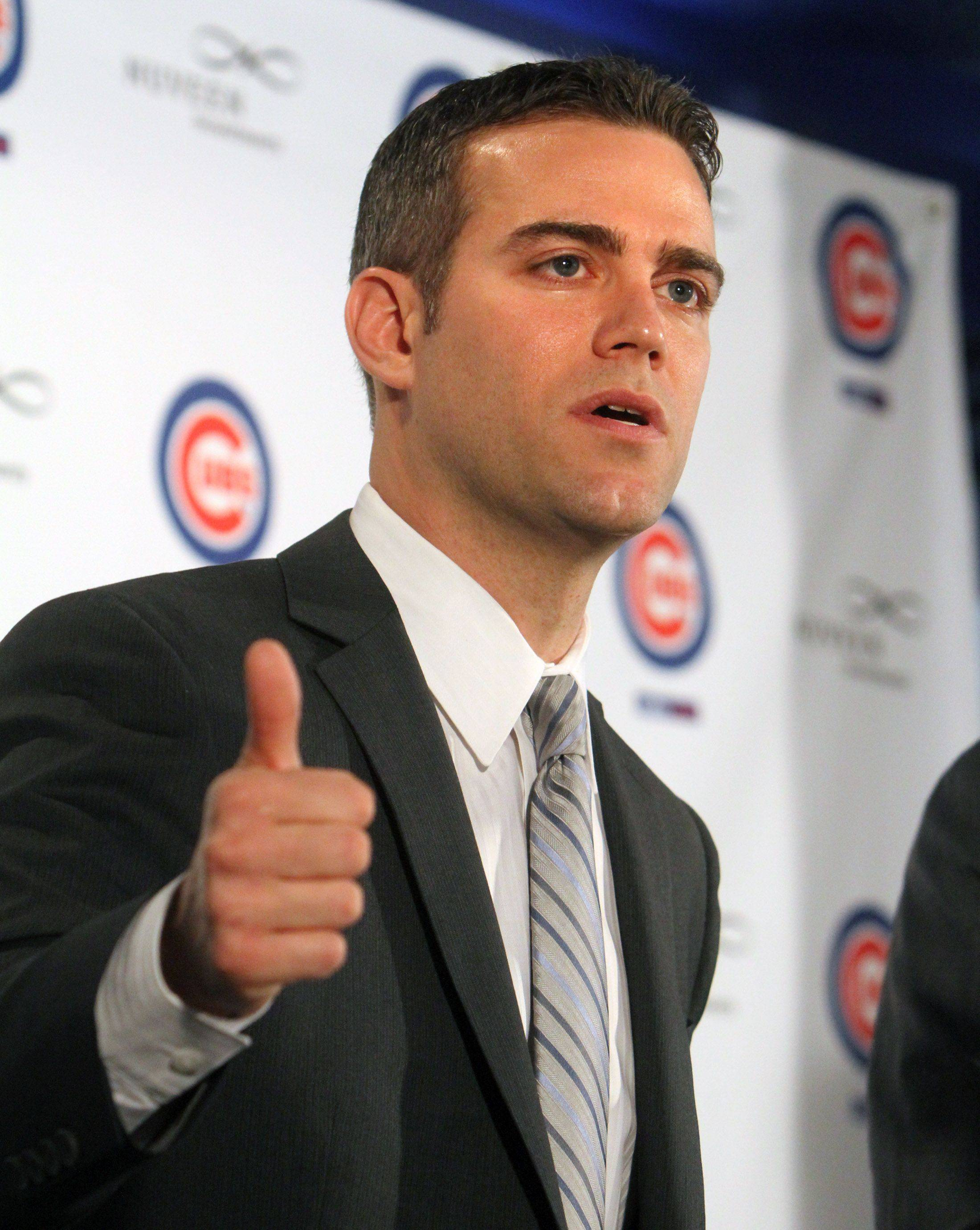 Theo Epstein, Chicago Cubs president of baseball operations, speaks during a press conference at Wrigley Field in Chicago on Tuesday.