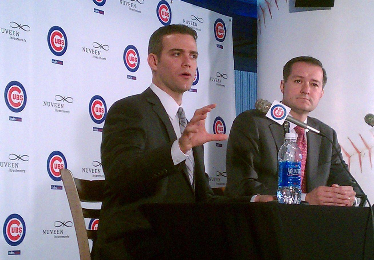 Theo Epstein, the Cubs new president of Baseball Operations, speaks to the media alongside the Cubs' owner Tom Ricketts Tuesday at Wrigley Field.