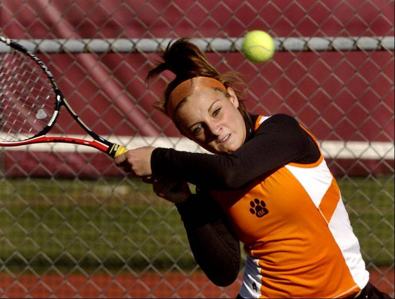 Crystal Lake Central's Jenna Wallace during Friday's state tennis tournament.