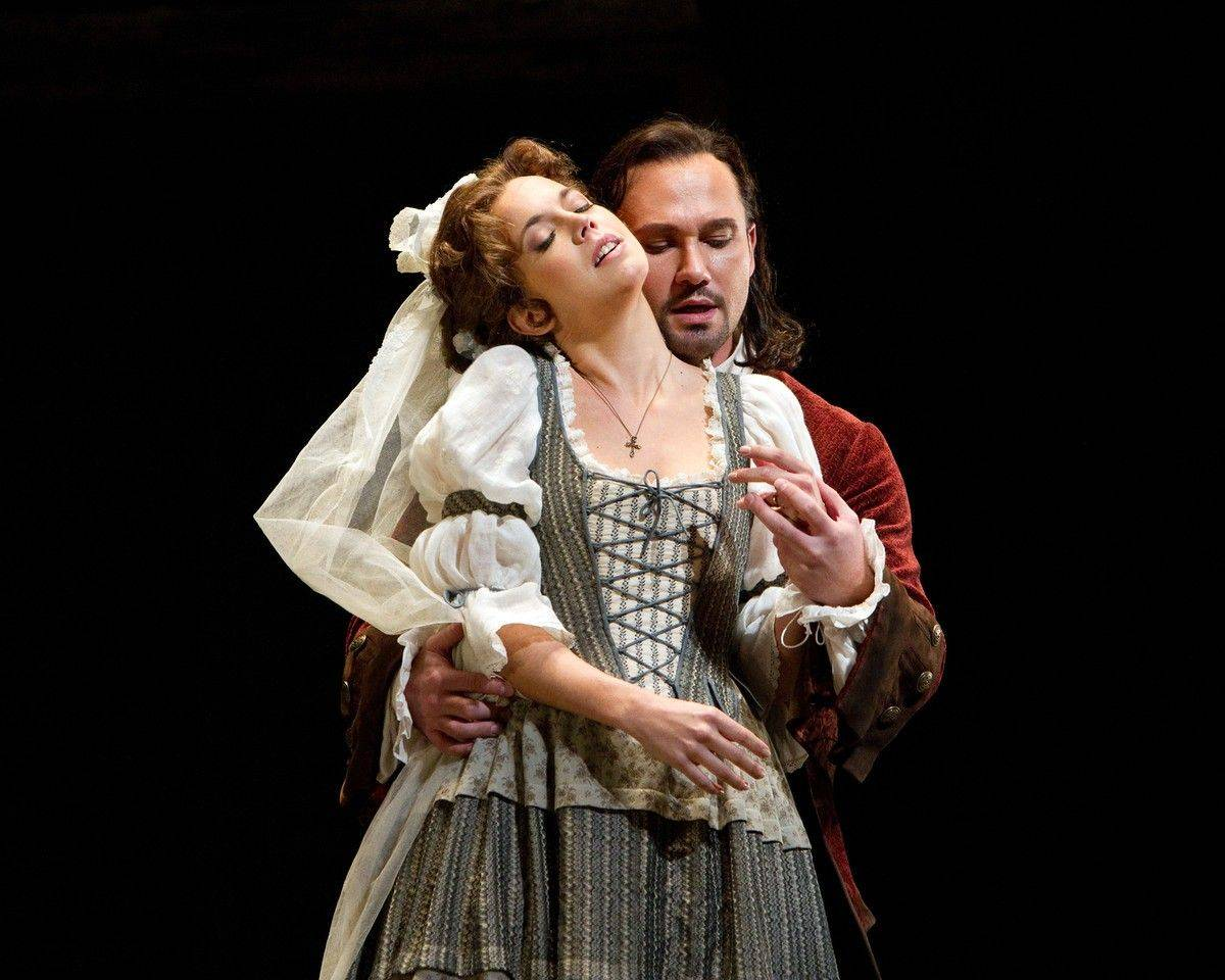 "Zerlina (Mojca Erdmann) falls under the seductive spell of Don Giovanni (Mariusz Kwiecien) in the Metropolitan Opera's ""Don Giovanni,"" being screened live in high definition in participating movie theaters on Saturday, Oct. 29."