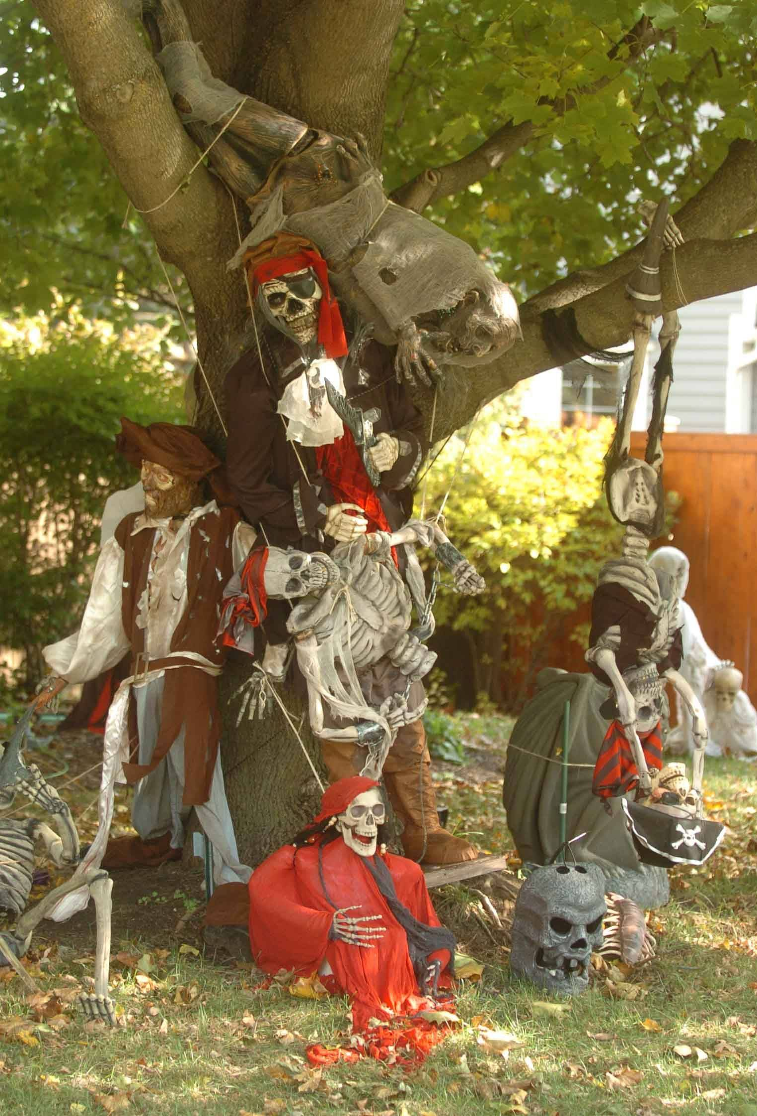 Themed displays dot a yard at 12 N. River Road in Naperville.