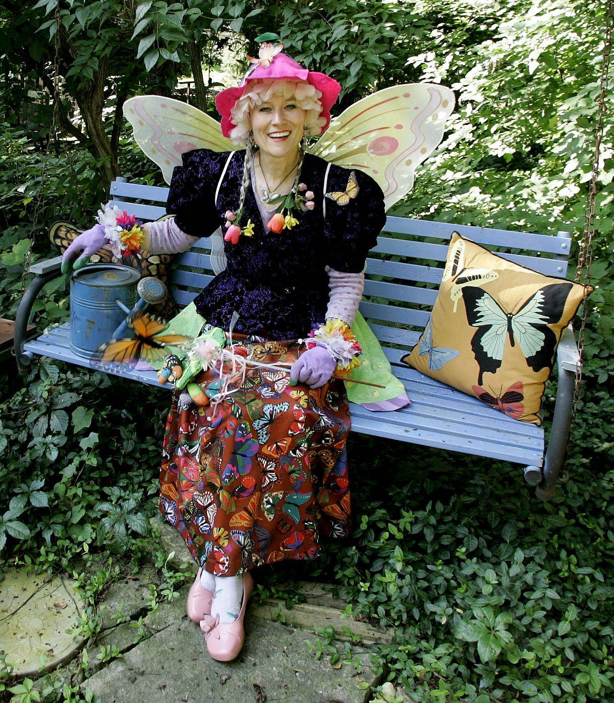 Professional storyteller Carolyn Finzer, dressed as Flora the Flower Fairy, said she finds most materials for her homemade costumes at Goodwill and thrift stores.