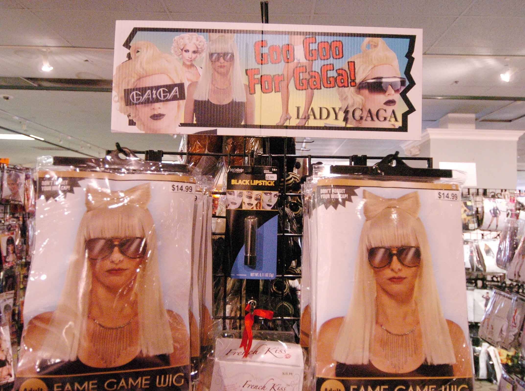 Some Lady Gaga items remain at Halloween City in Downers Grove Thursday.