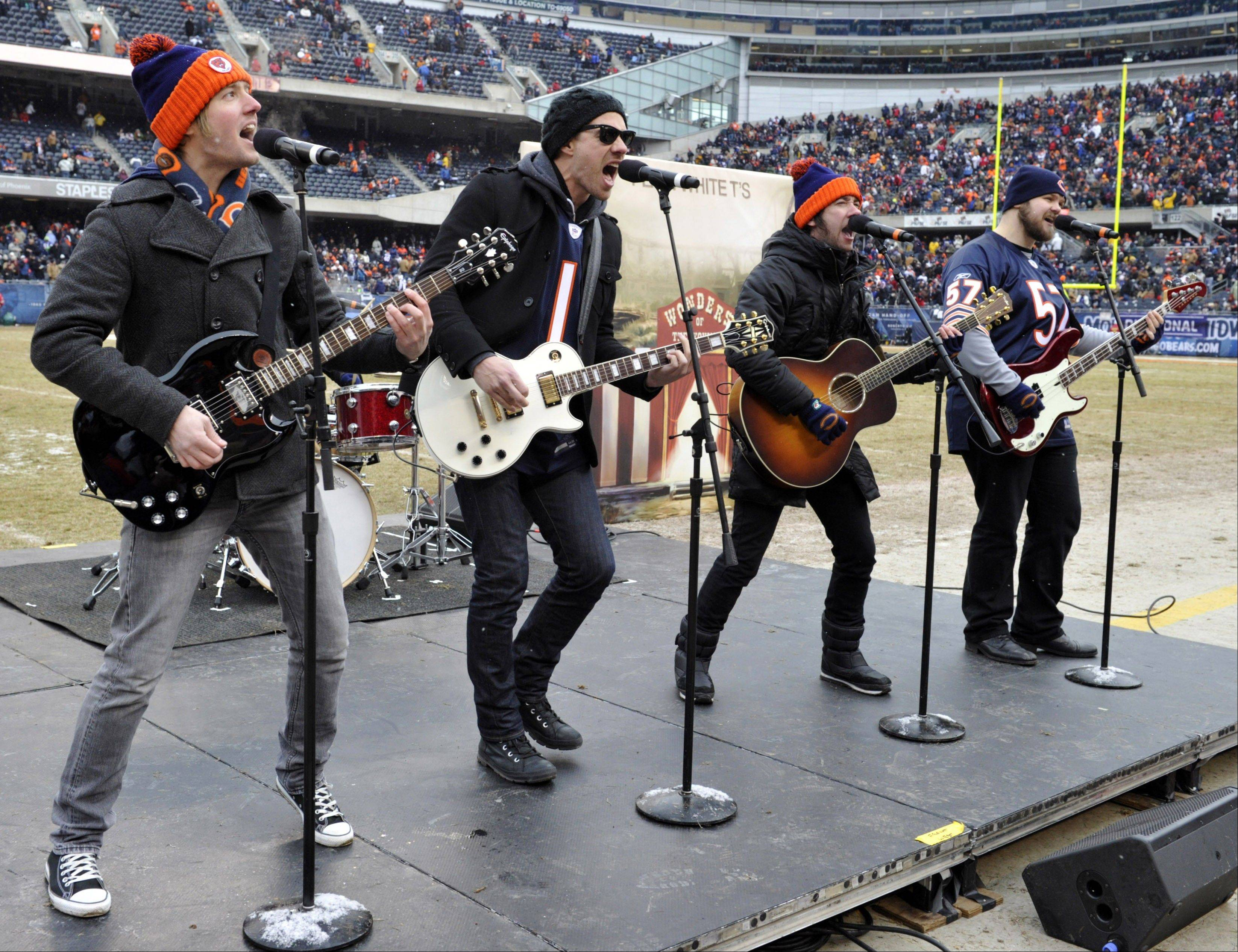 Plain White T's, shown performing during halftime of last season's NFL divisional playoff football game between the Chicago Bears and the Seattle Seahawks, will headline the House of Blues Sunday.