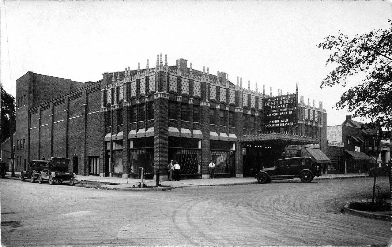 A historical photo of the Des Plaines Theatre in downtown.