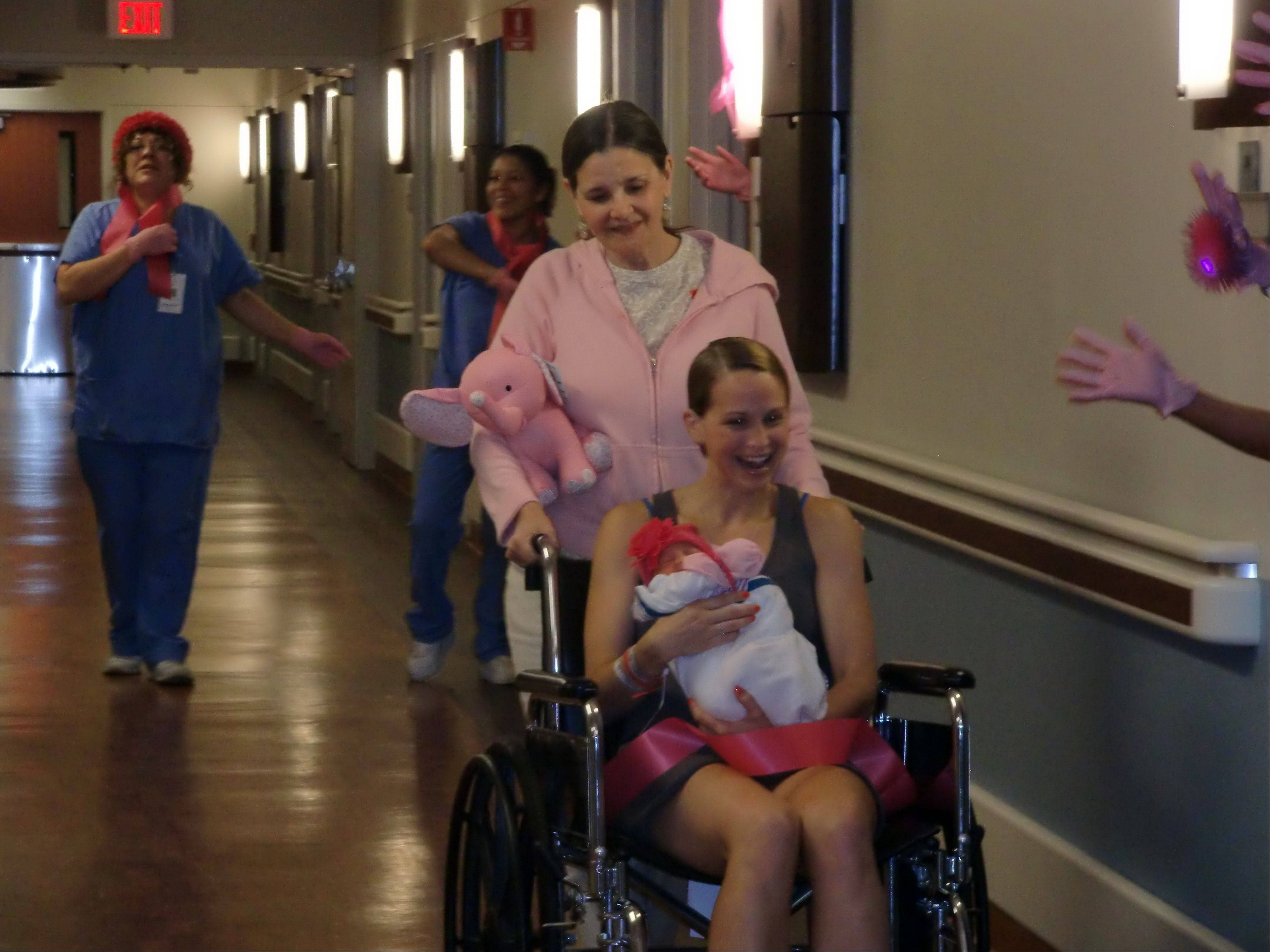 Even new moms and their babies got into the act during Good Shepherd's Pink Glove video filming.