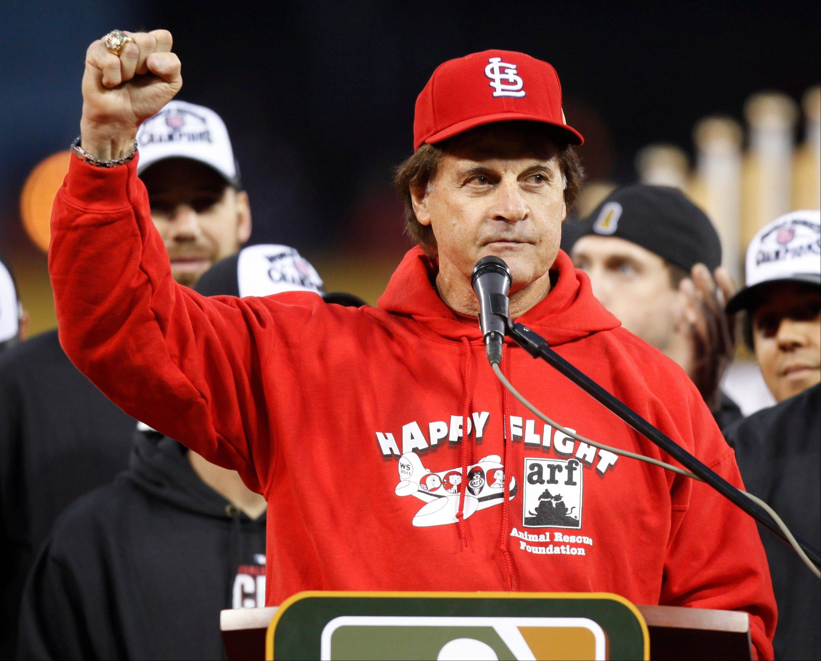 "Three days after winning the World Series, St. Louis Cardinals manager Tony La Russa is retiring. The 67-year-old manager, who spent 33 years coaching the Cardinals, Oakland Athletics and Chicago White Sox, said ""it's just time."""