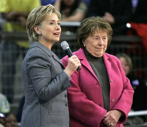 "In this Dec. 7 2007 file photo  then-Democratic presidential hopeful Sen. Hillary Rodham Clinton D-N.Y. left and her mother Dorothy Rodham attend a ""Take Your Buddy to Caucus"" event in Des Moines. According to the Clinton family: Dorothy Rodham Hillary Rodham Clinton's mother has died at 92."