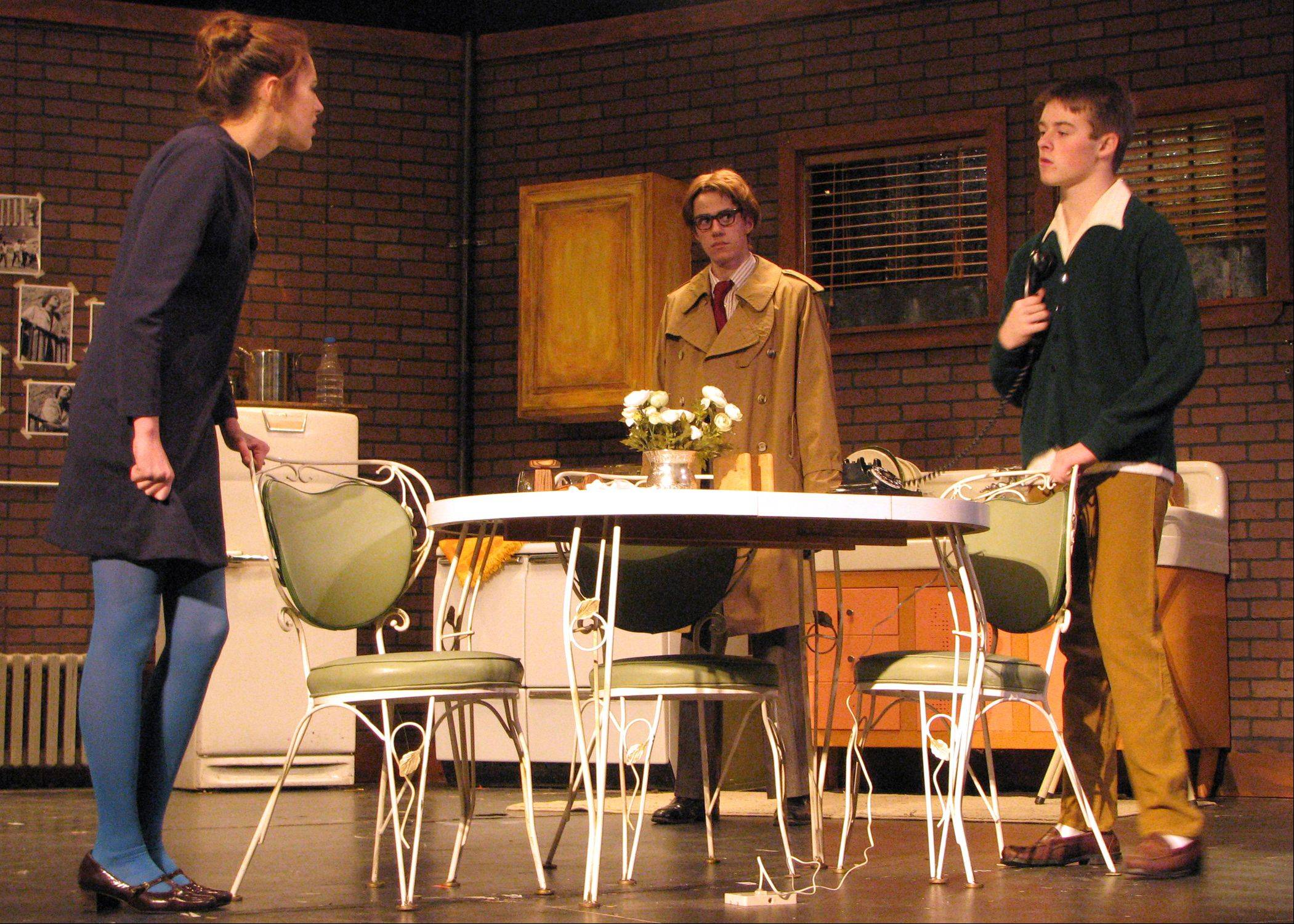 "From left, Alexis Laverdiere as Susy Hendrix, Ryan Lammers as Harry Roat, Jr. and Brendan Pedersen as Mike Talman rehearse ""Wait Until Dark"" at Cary-Grove High School."
