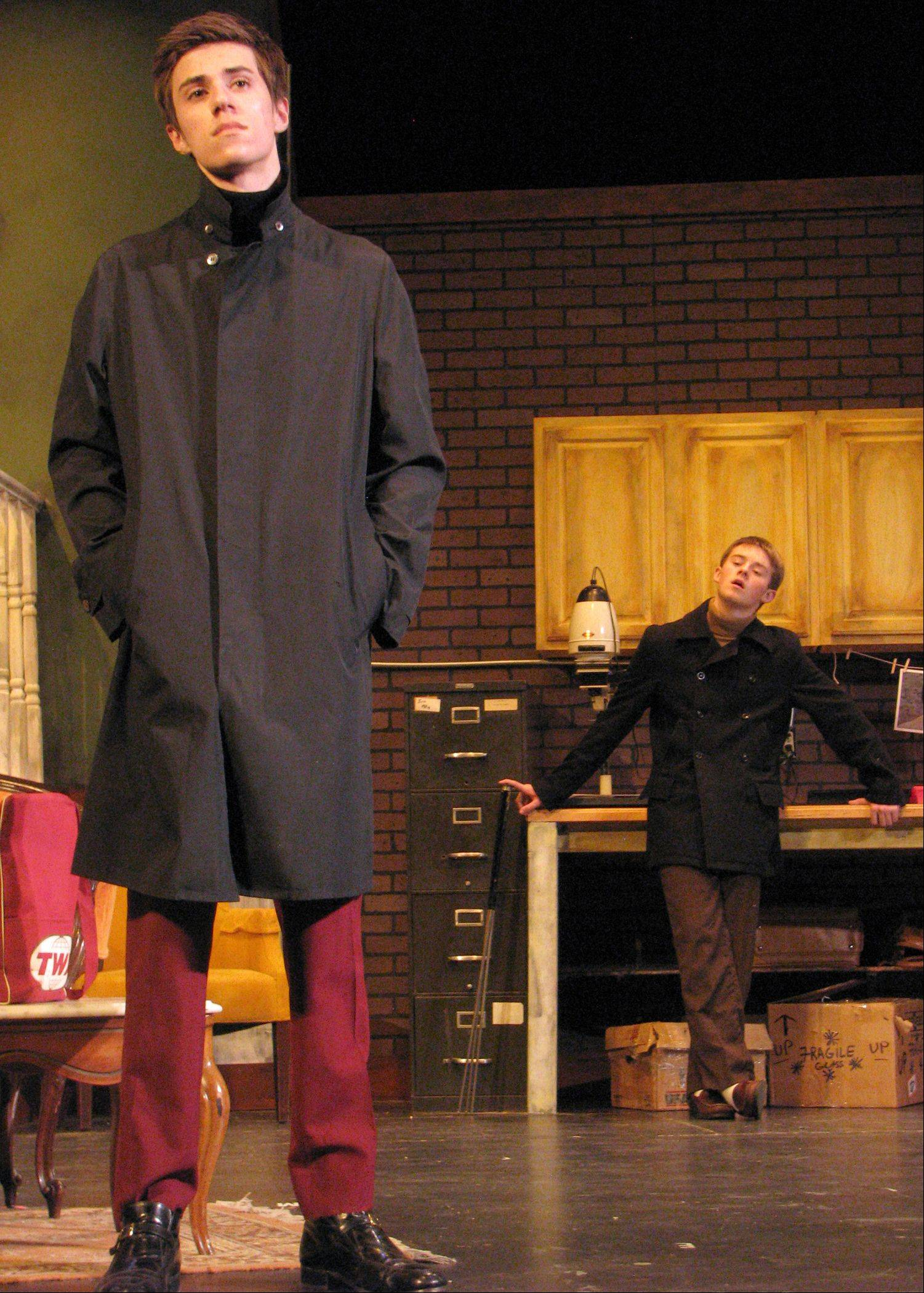 "Cary-Grove students Ryan Lammers, left as Harry Roat, Jr and Brendan Pedersen as Mike Talman during a rehearsal of ""Wait Until Dark."""