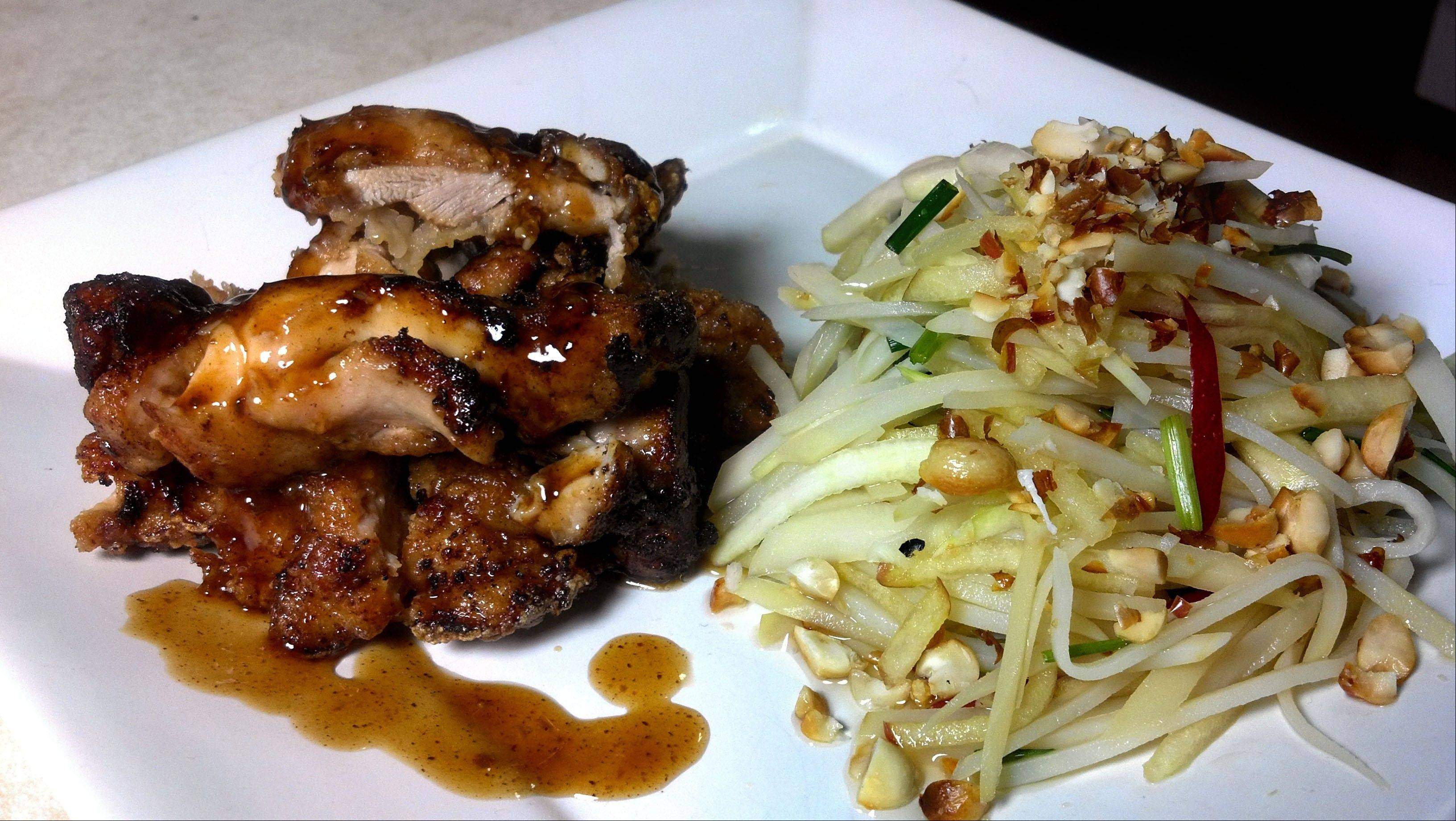 Crispy Pan-fried Chicken Thighs with Asian Potato Salad