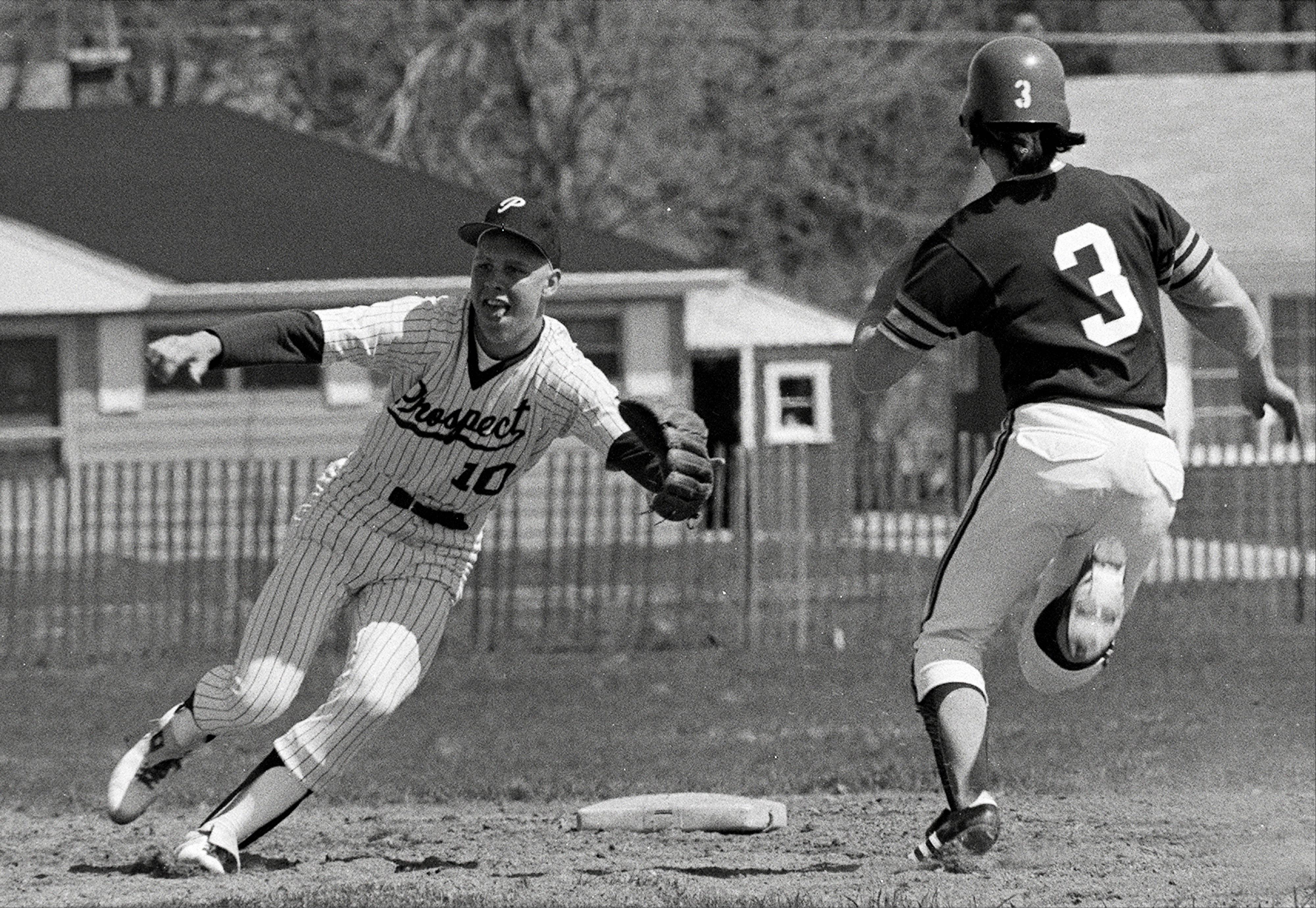 Mike Quade, left, played baseball for Mt. Prospect as shortstop in 1974.