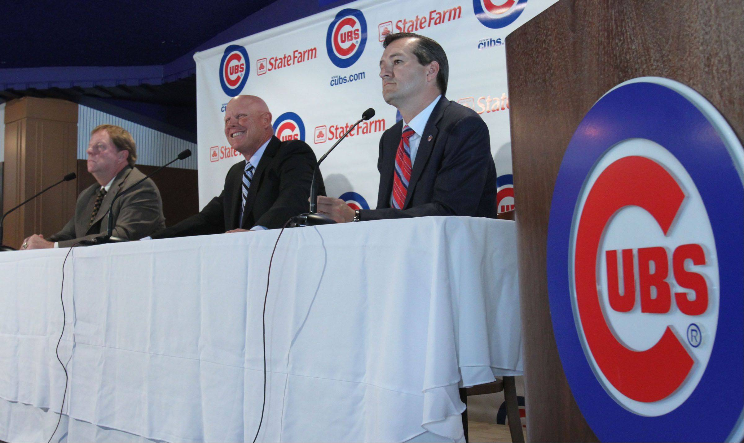 Mike Quade is named the Chicago Cubs manager at A press conference with Chicago Cubs owner Tom Ricketts and Cubs General Manager Jim Hendry at Wrigley Field in Chicago on Tuesday, October 19, 2010.