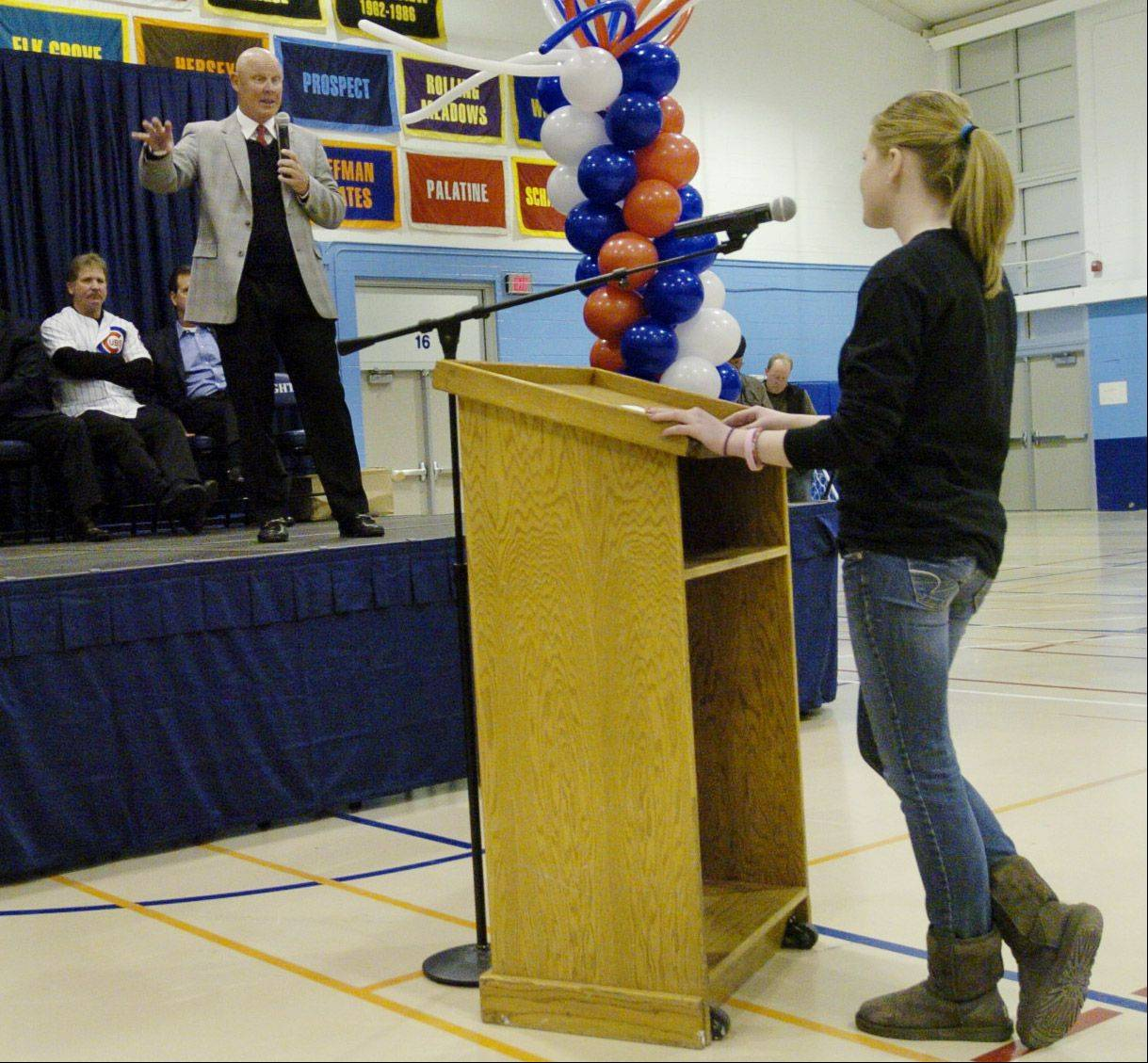 Cubs manager Mike Quade fields a question from sophomore Maggie Devereux during an assembly while visiting his old high school, Prospect High.