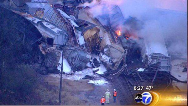 An aerial view of the train derailment in Elgin on Thursday morning.