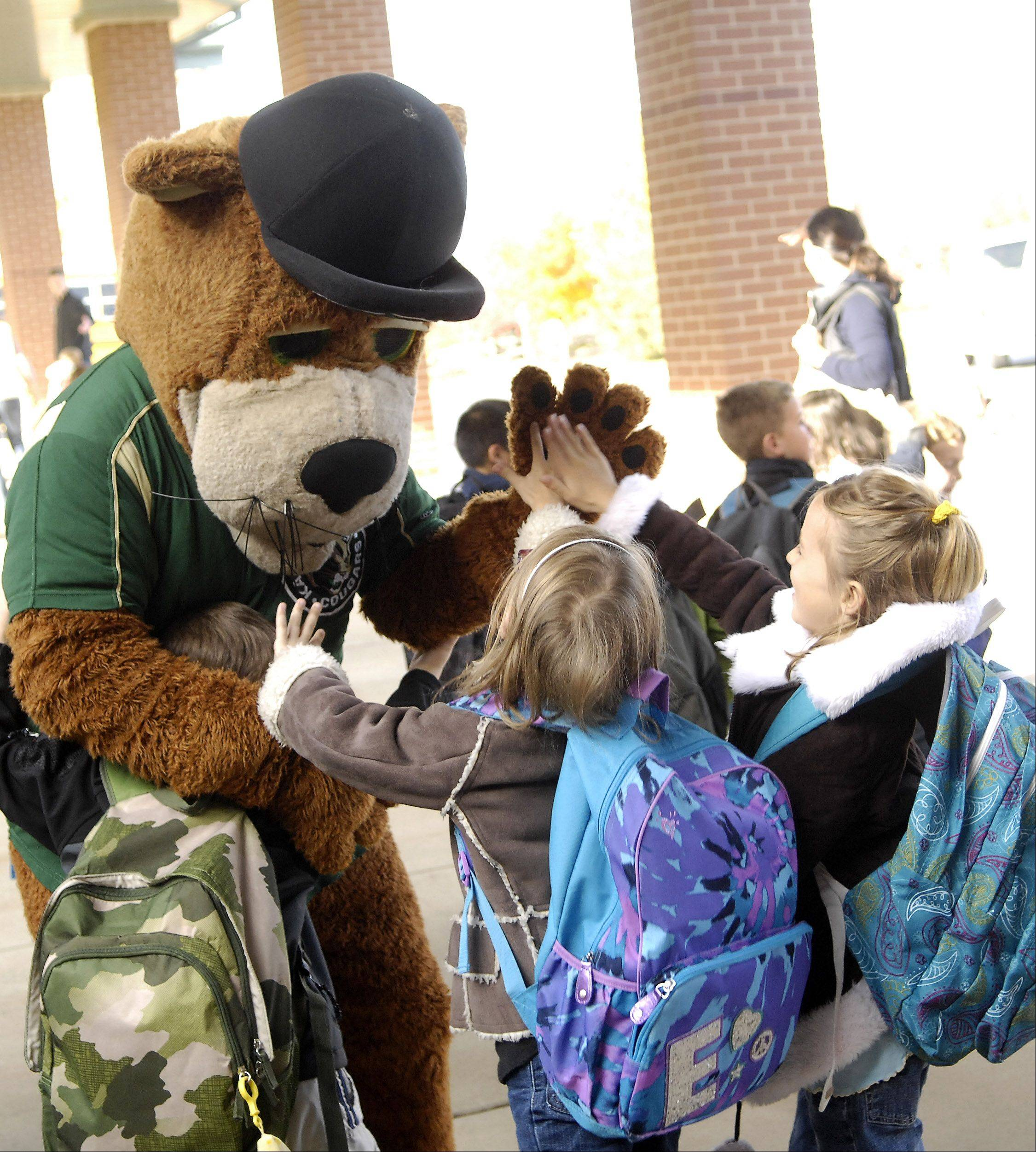 Students from Heartland Elementary high-five Kane County Cougars mascot Ozzie T. Cougar after an assembly Friday in Geneva where the students received the Spirit of Giving trophy for collecting 725 pounds of food for this year's Red Ribbon Week Food Drive.