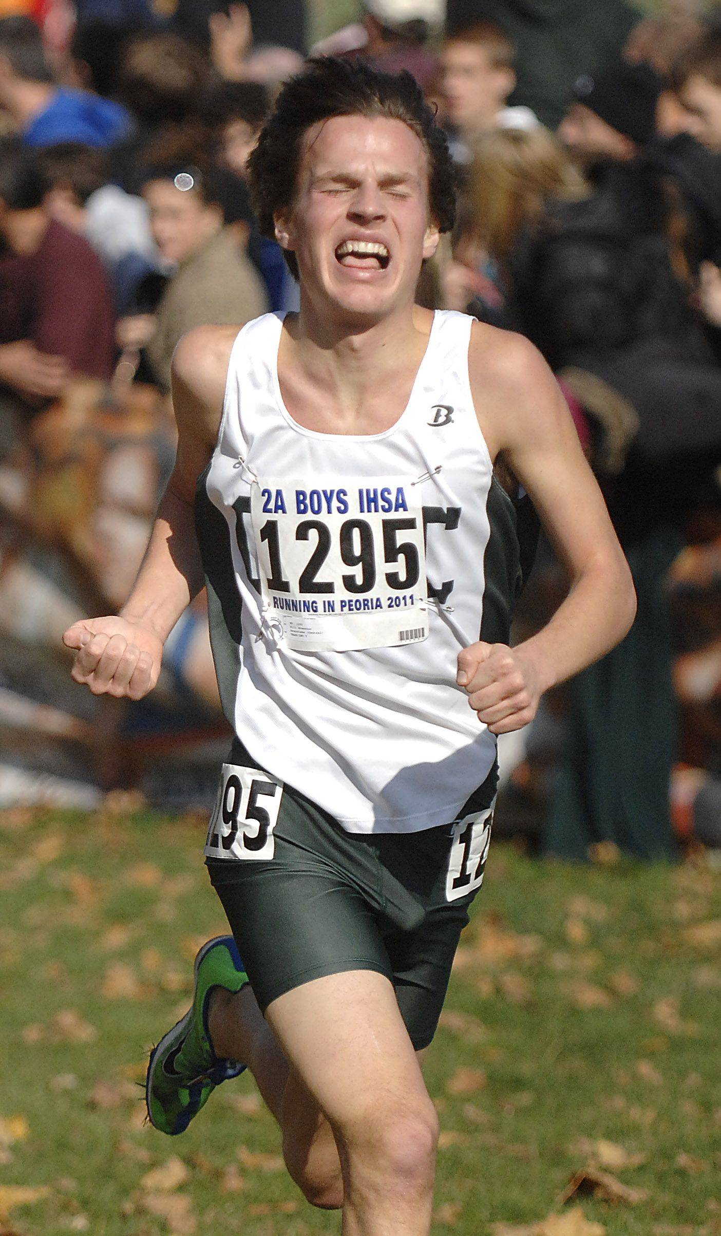 Grayslake Central's Will Brewster nears the finish line in the 2A state cross country final. Brewster took 8th place with a time of 14:47.