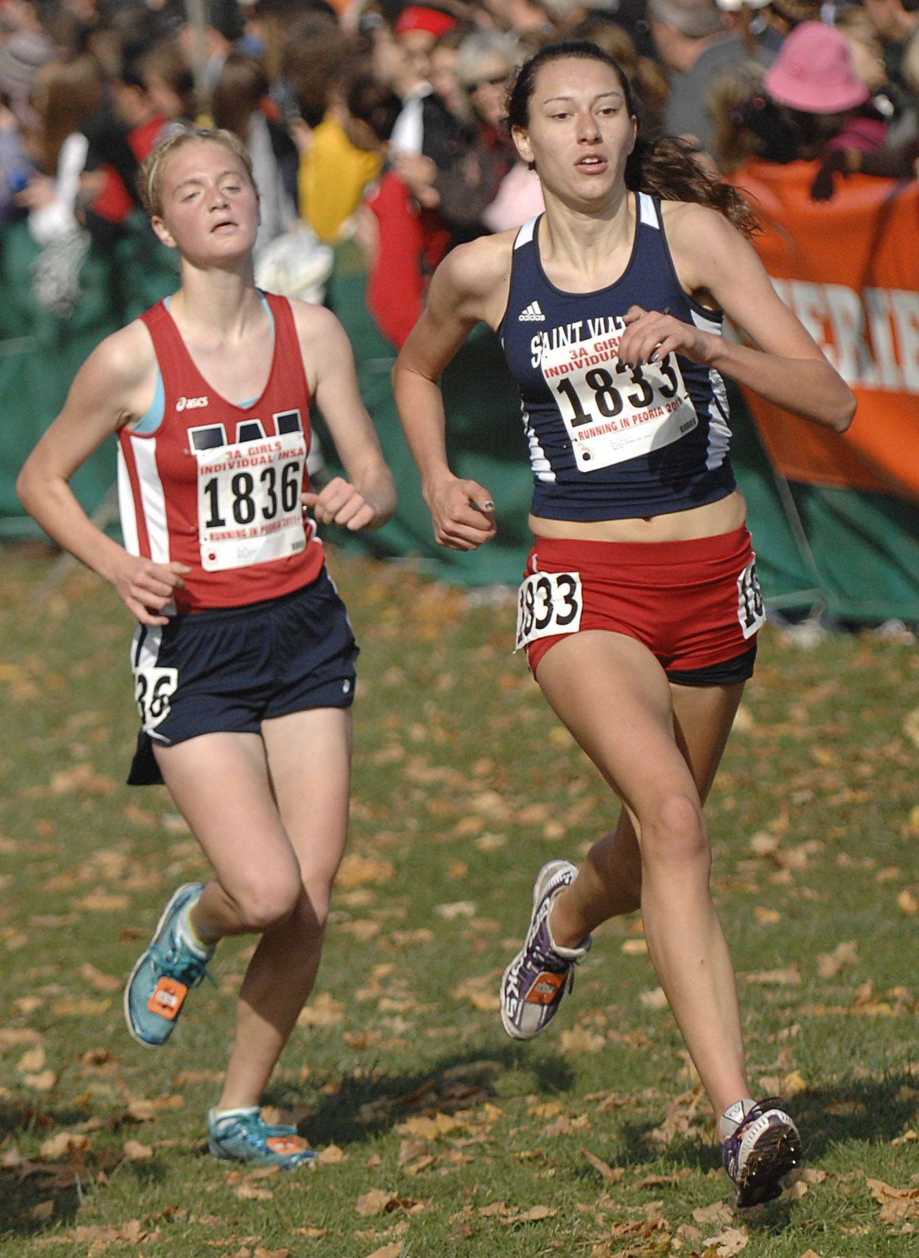 West Aurora's Rachel Cavender and St. Viator's Hanna Winter approach the finish line in the 3A state cross country final. Cavender took 21st place and Winter took 19th place.