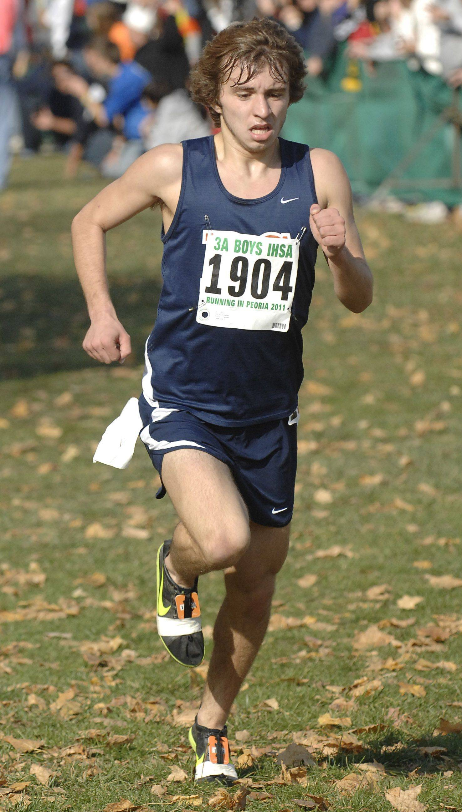 Buffalo Grove's Taras Didenko comes in 26th place with a time of 15:02 in the 3A state cross country final.