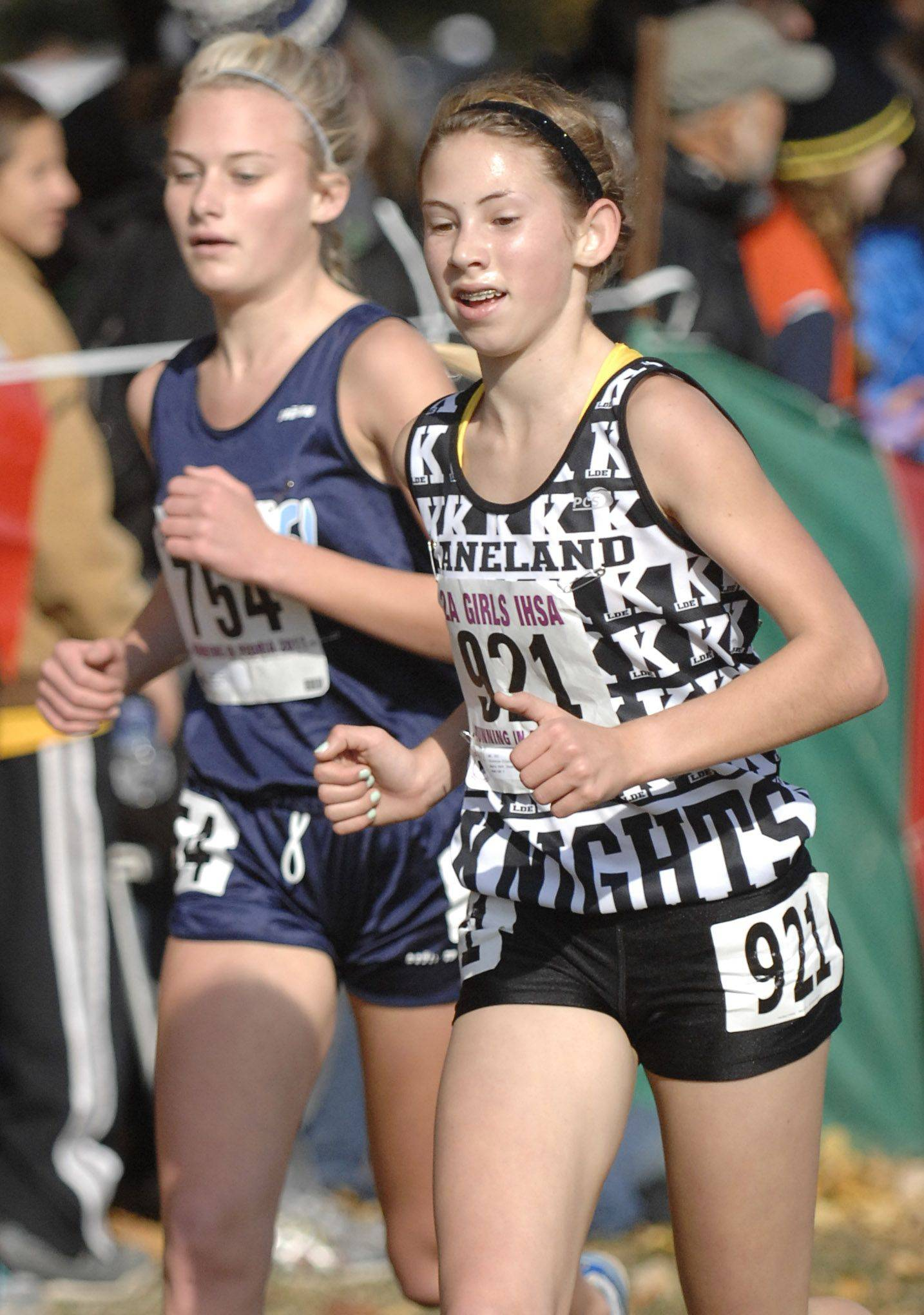 Kaneland's Victoria Clinton takes 11th place with a time of 17:41 in the 2A state cross country final.