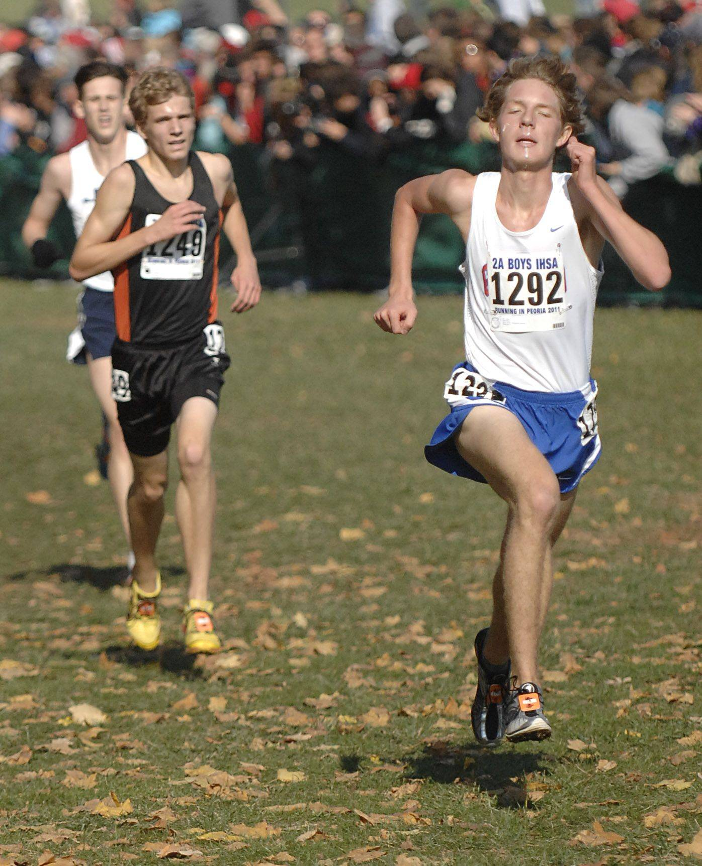 Glenbard South's John Wold nears the finish line to take 4th place with a time of 14:40 in the 2A state cross country final.