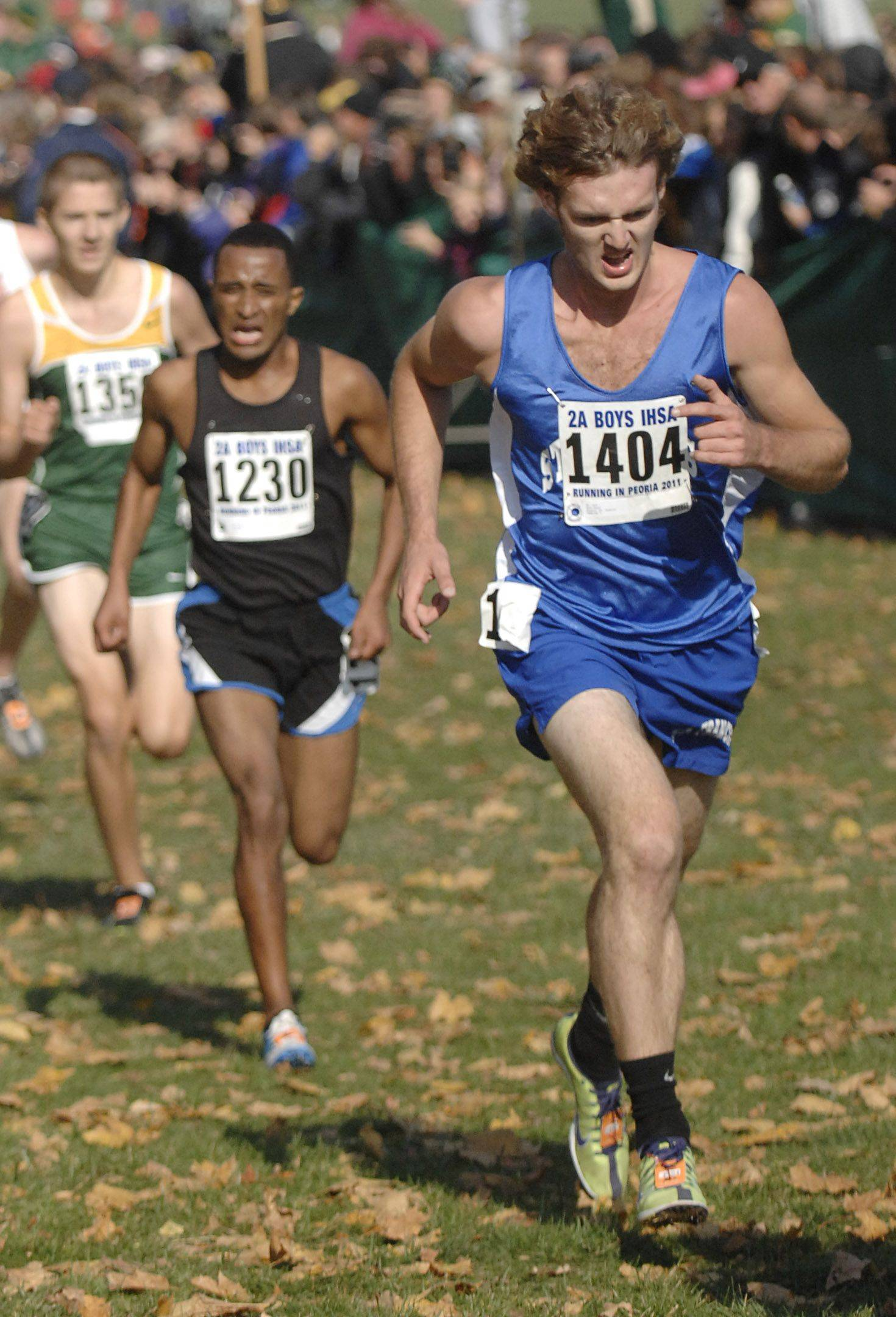 St. Francis' Matt Denny nears the finish to take 42nd place with a time of 15:37 in the 2A state cross country final.