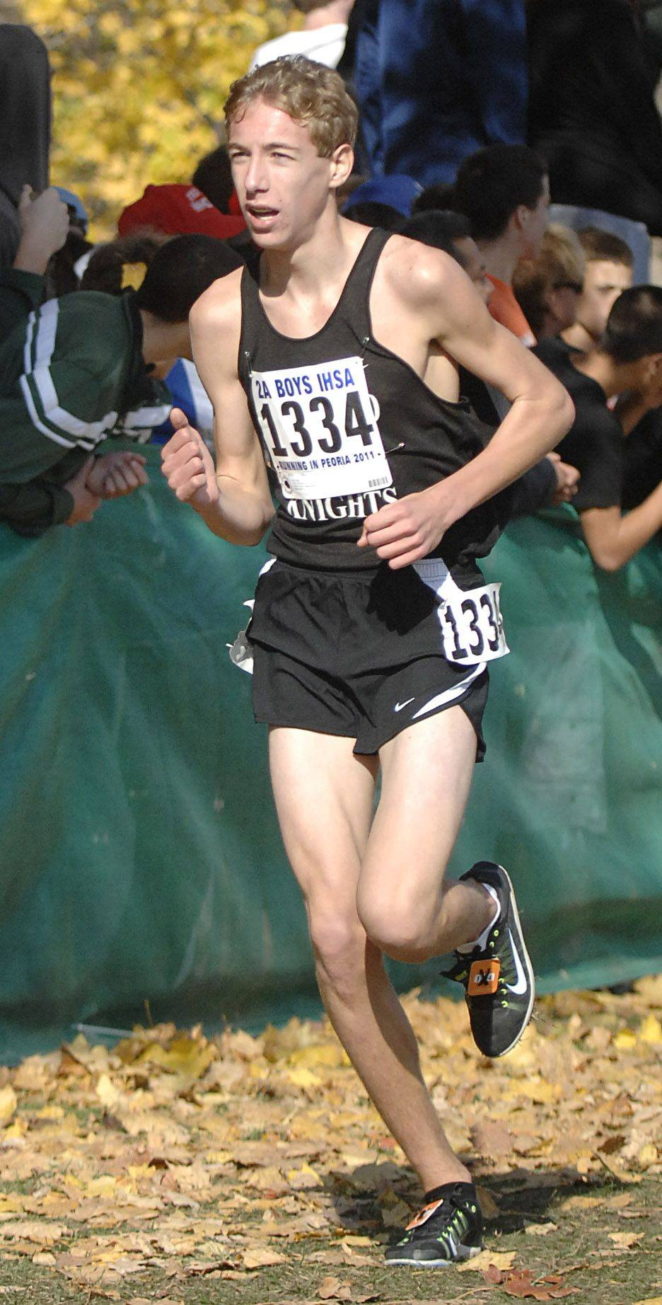 Kaneland's Kyle Carter takes 53rd place with a time of 15:45 in the 2A state cross country final.