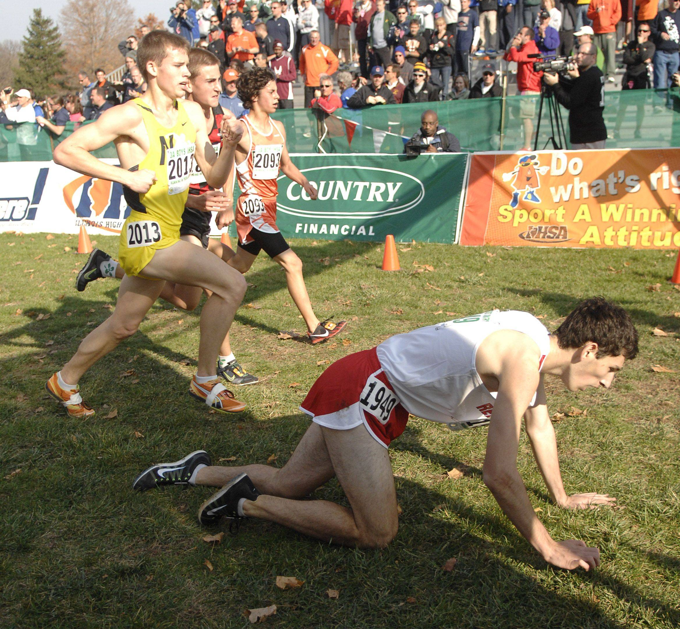 Hinsdale Central's Jack Feldman crawls across the finish line in the 3A state cross country final in Peoria on Saturday, November 5.